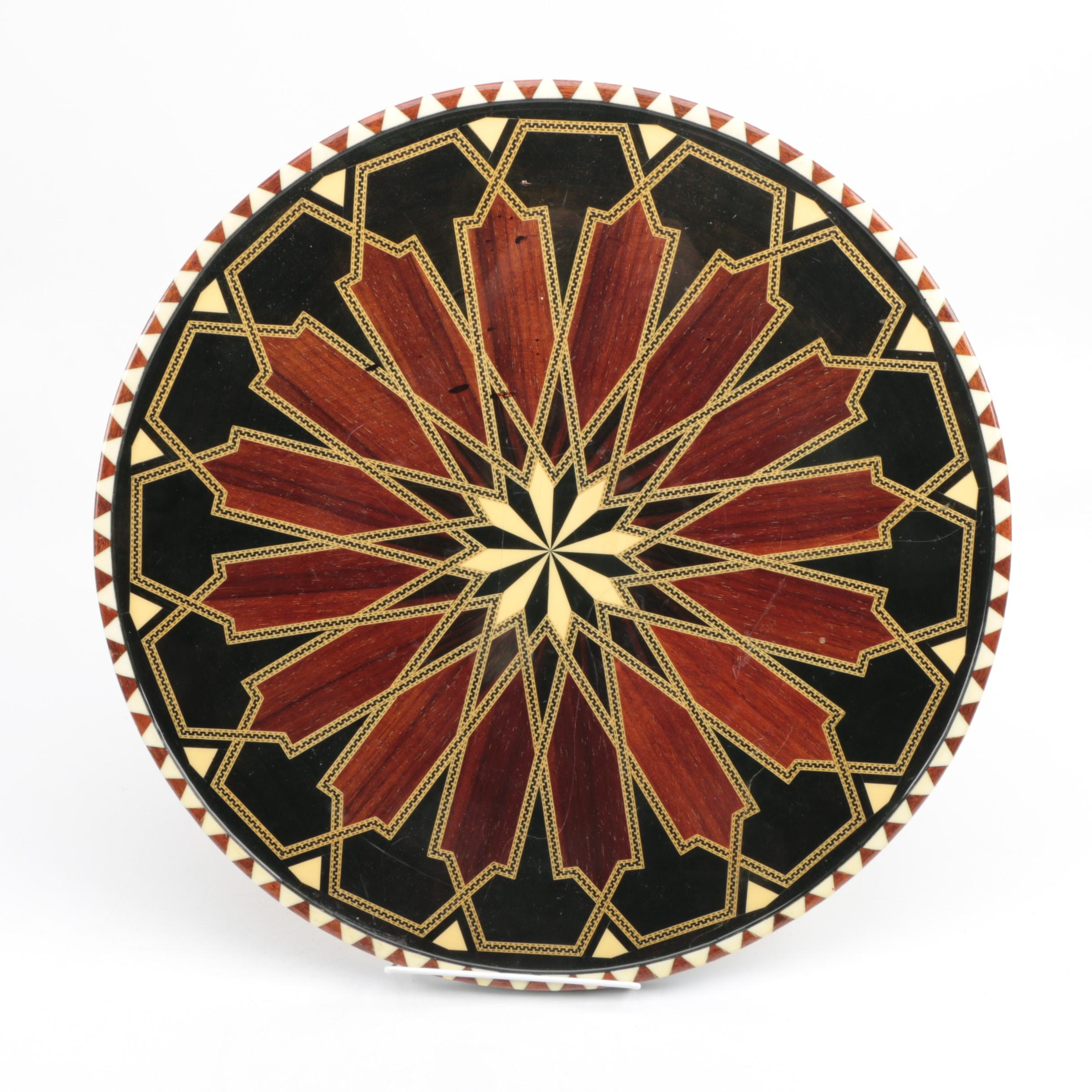 Geometric Inlaid Round Table Top With Rosewood