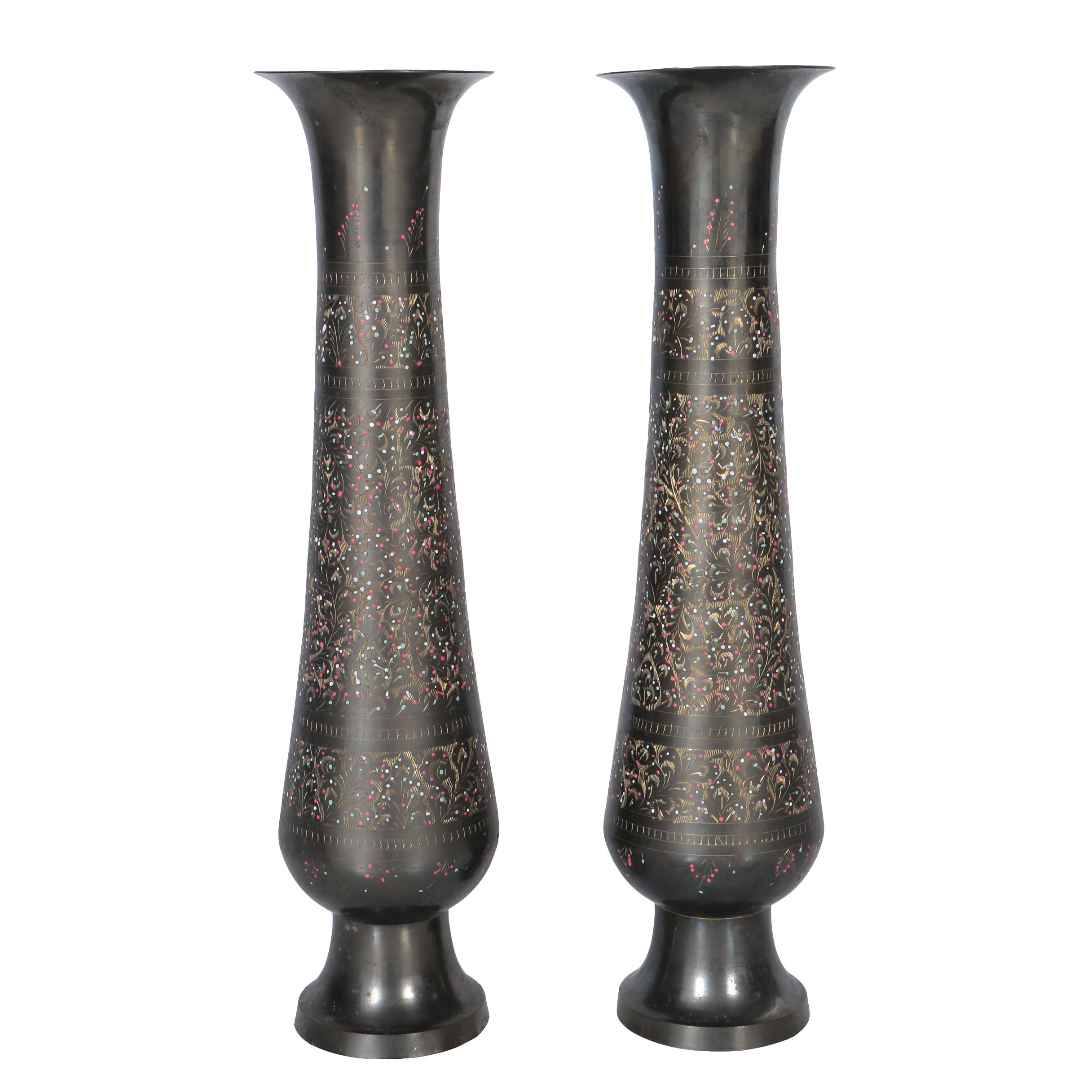 Pair of Etched Brass Vases