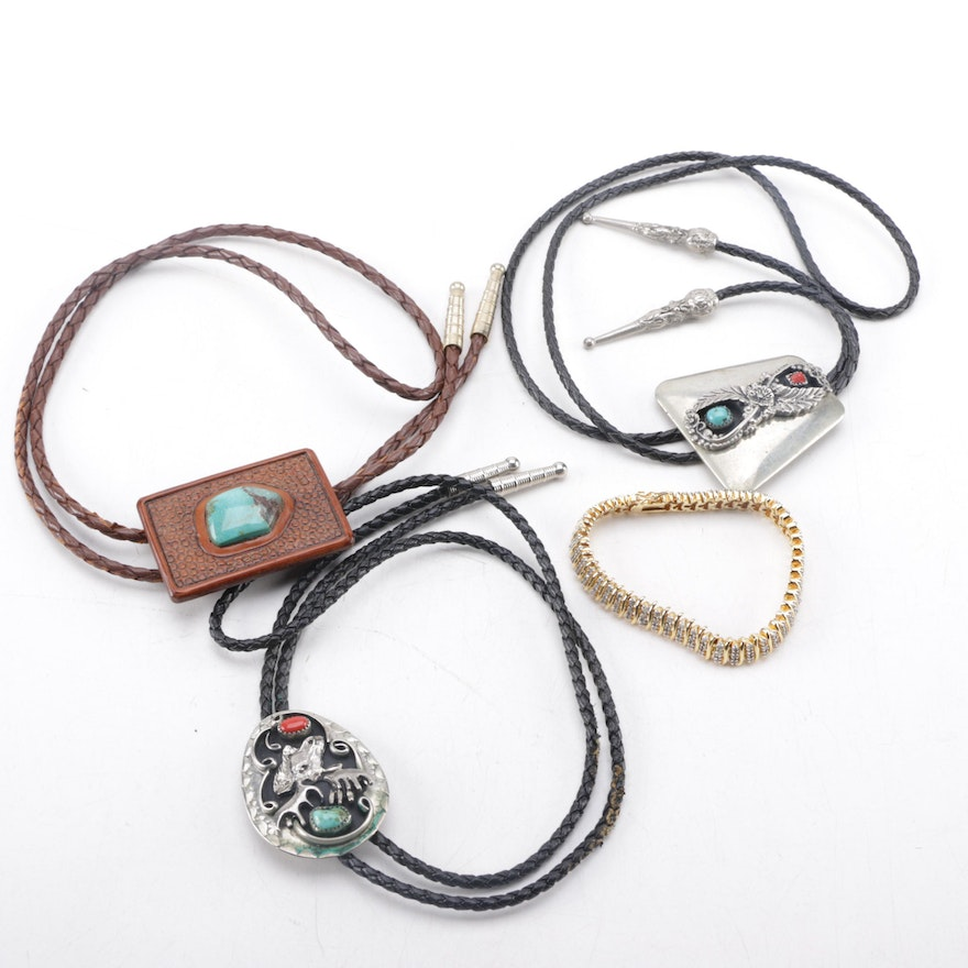 Assortment of Bolo Ties Including Turquoise and a Gold Tone Diamond Bracelet