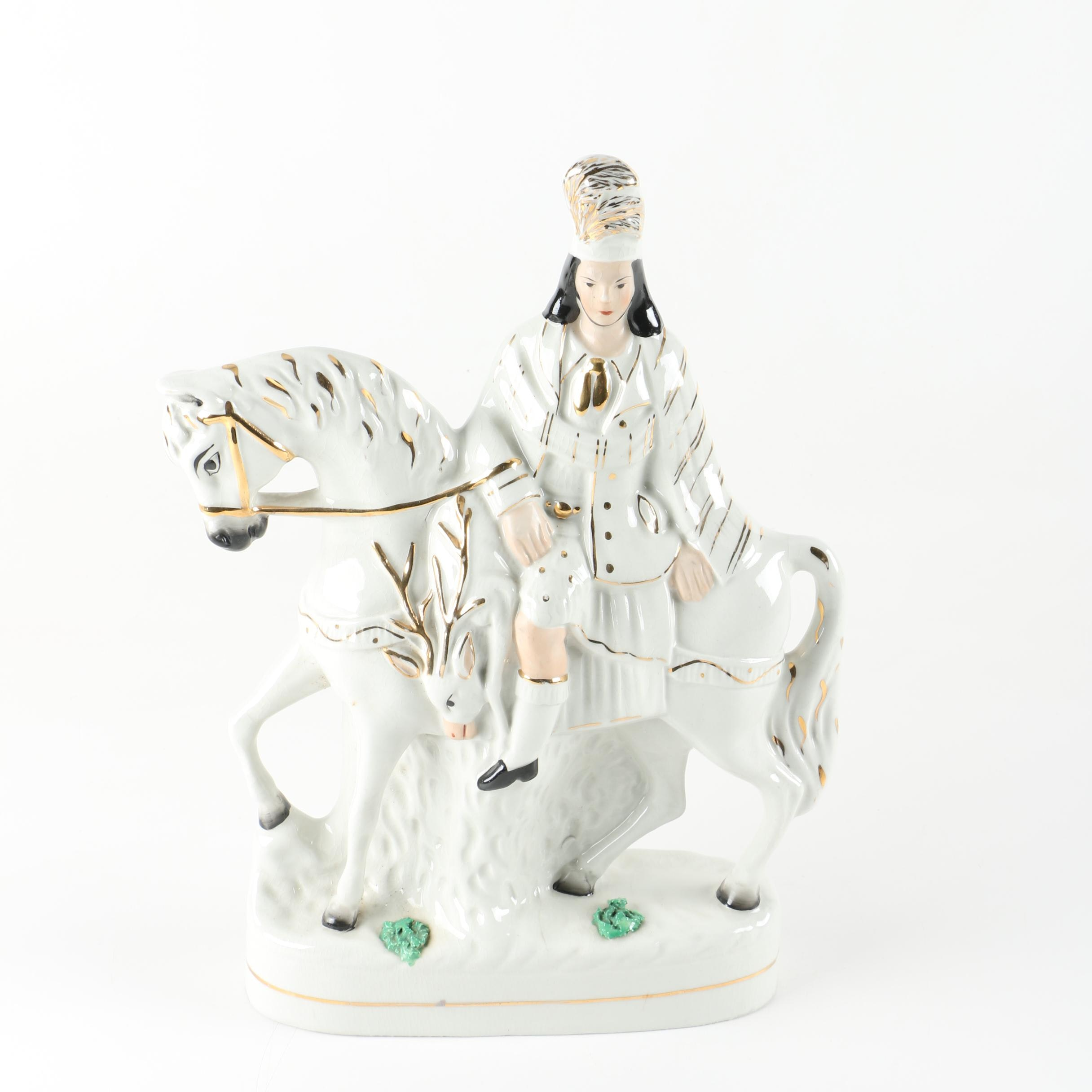 Staffordshire Ware Figurine of Hunter on Horseback with Stag