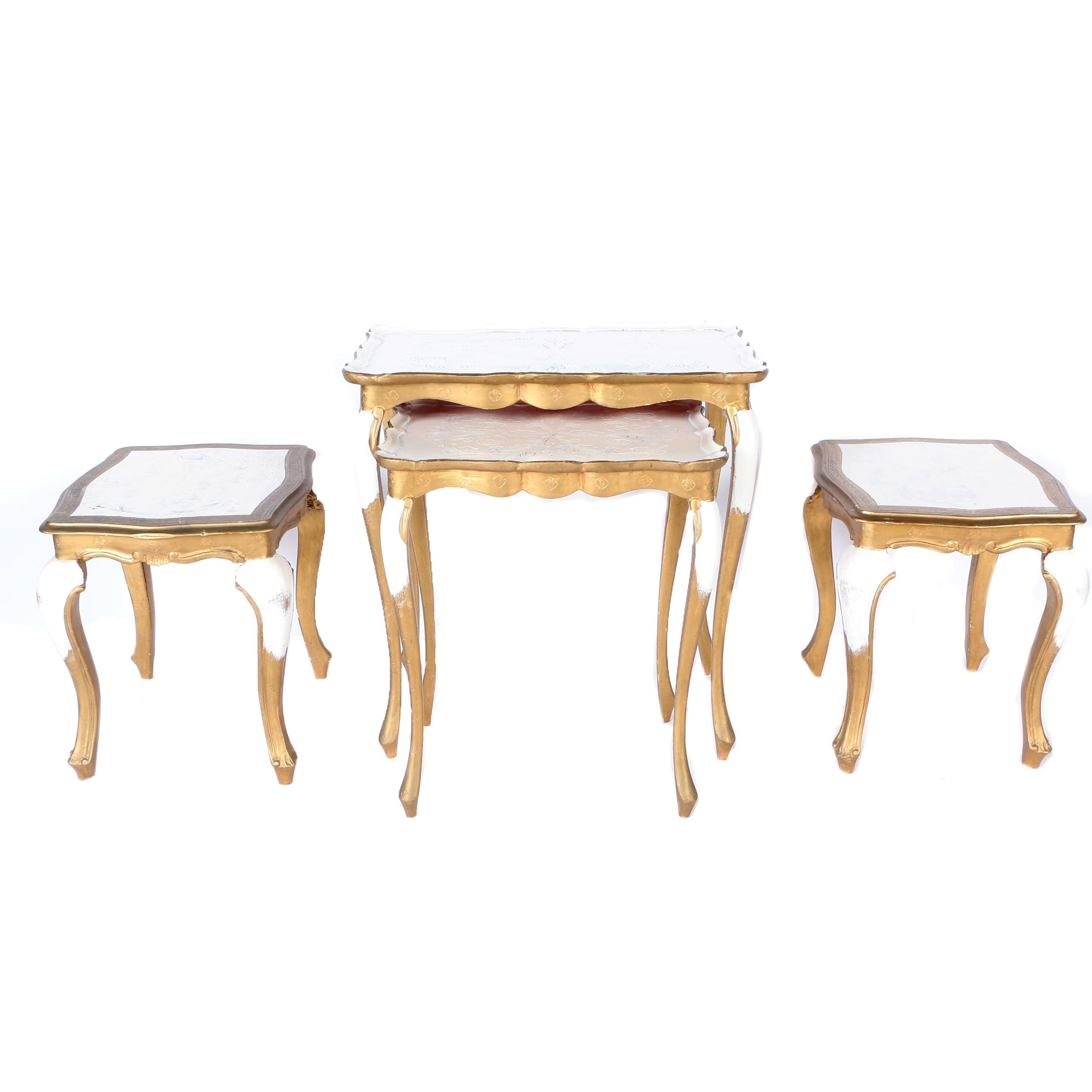Set of Queen Anne Style Painted Accent Tables