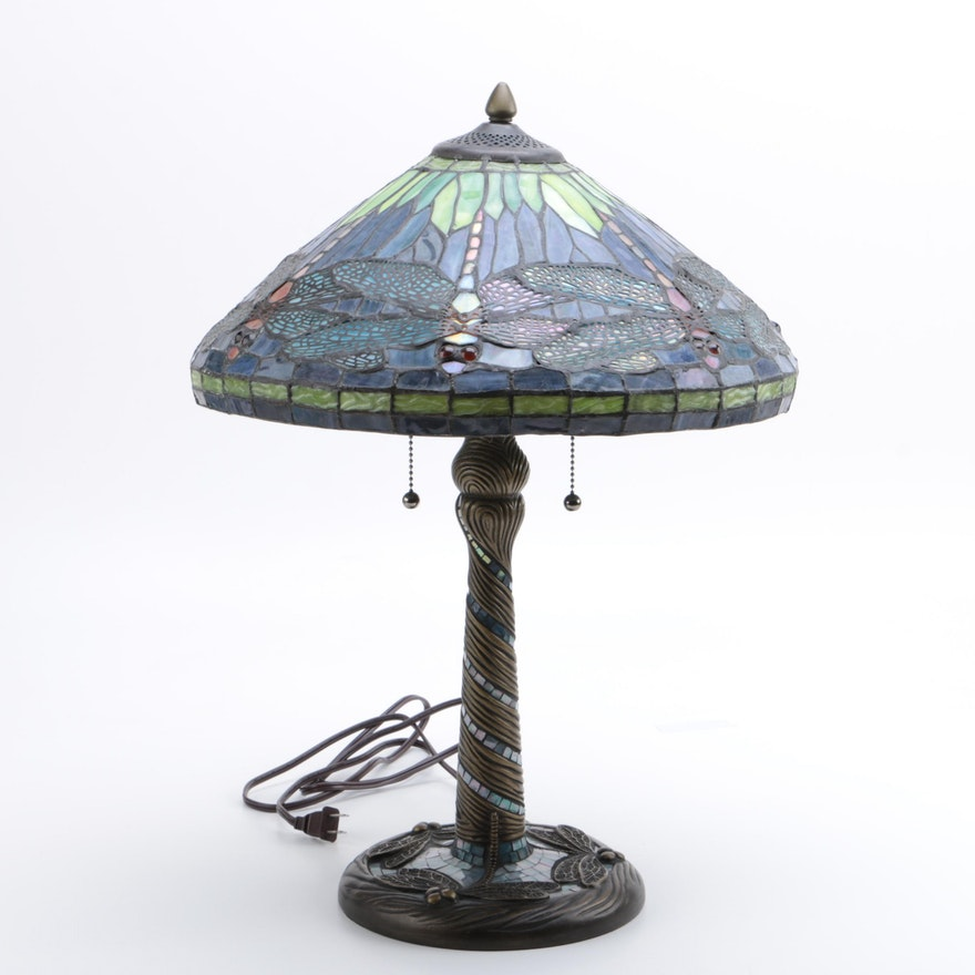 Reproduction Tiffany Dragonfly Table Lamp By Clara