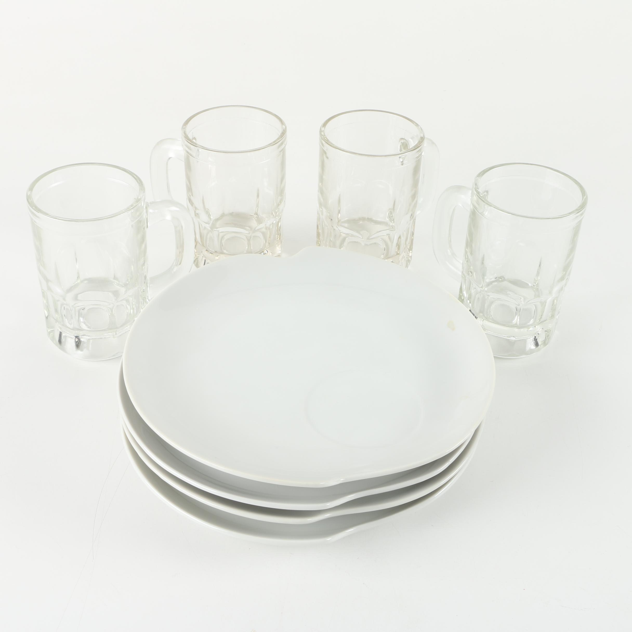 Snack Plates and Glass Mugs