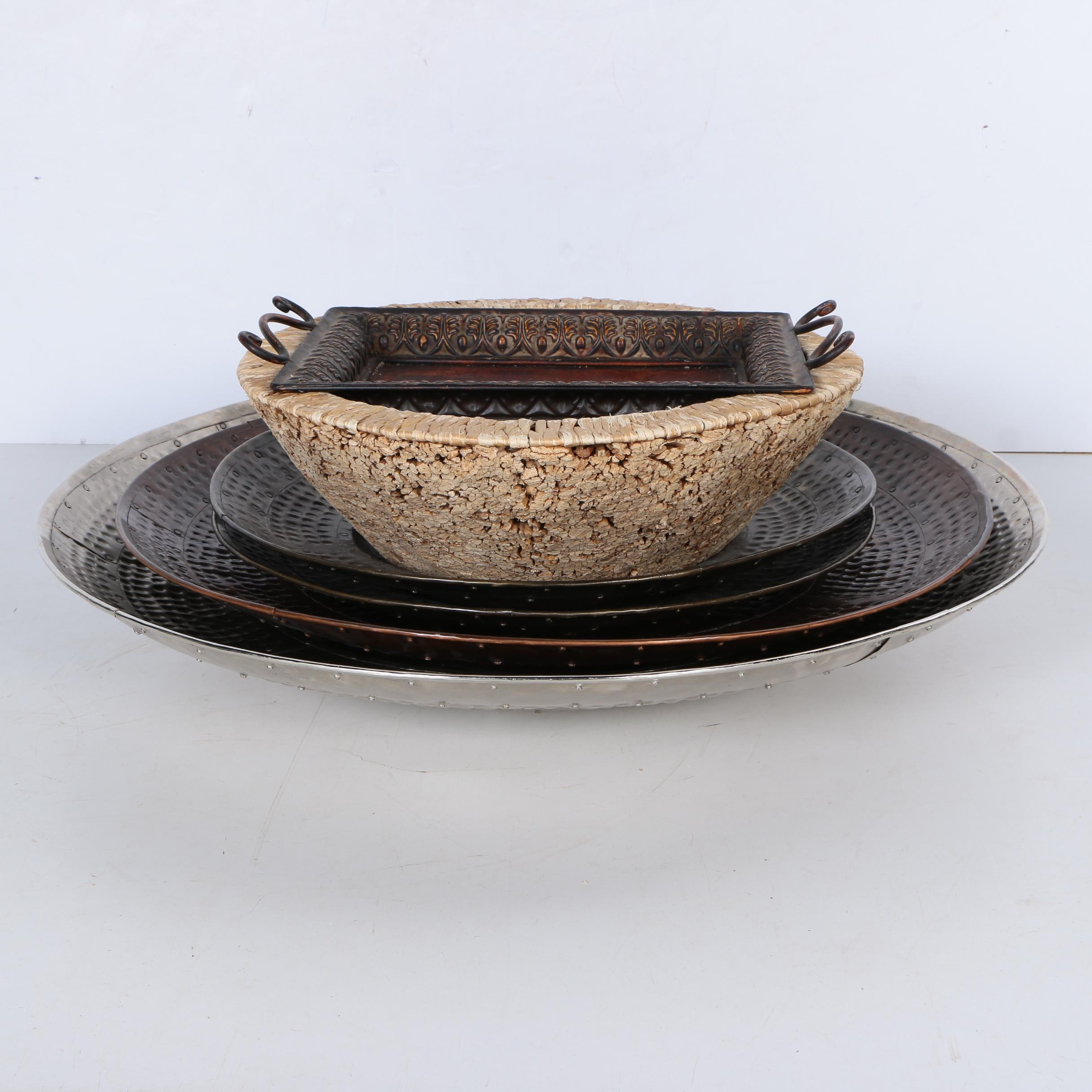 Metal Platters and Woven Serving Bowl