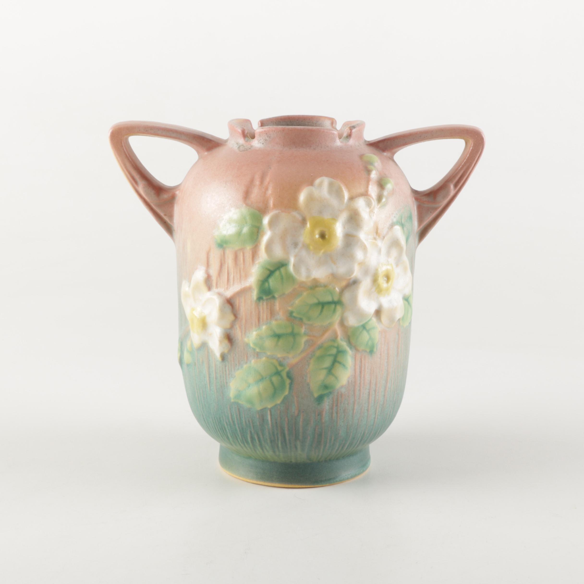 """Roseville Pottery """"White Rose"""" Ceramic Vase"""