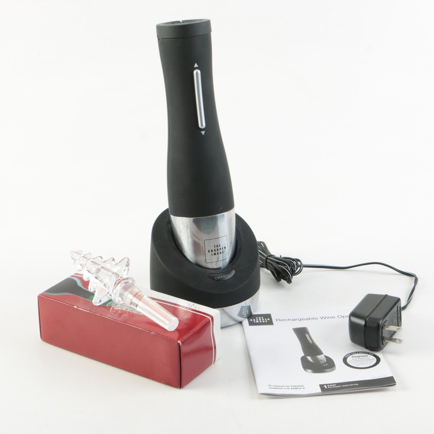 Sharper Image Electric Wine Opener And Holiday Wine Stopper Ebth