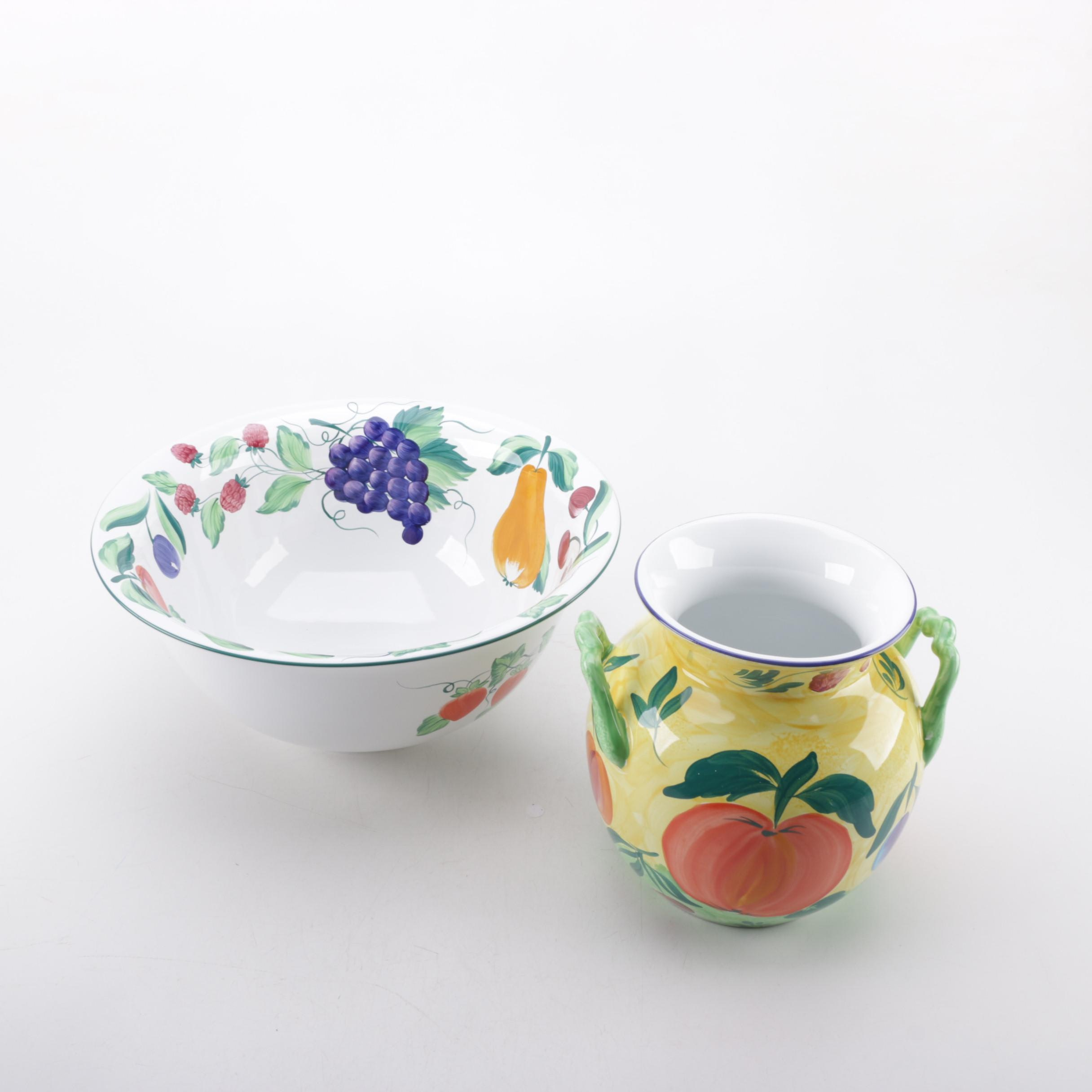 Herend Village Pottery Painted Pottery Serving Bowl and Vase with a Fruit Motif
