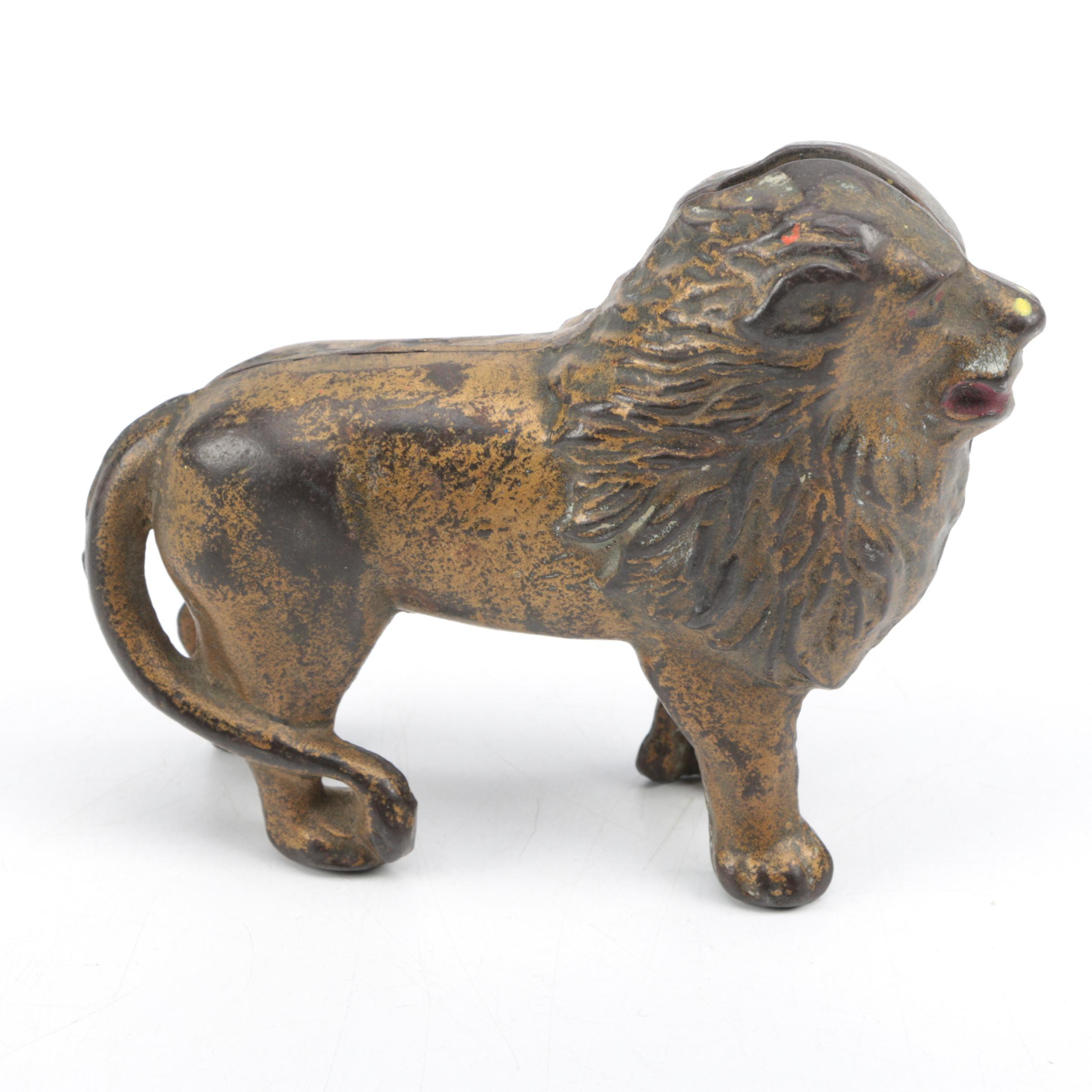 Antique Cast Metal Lion Coin Bank