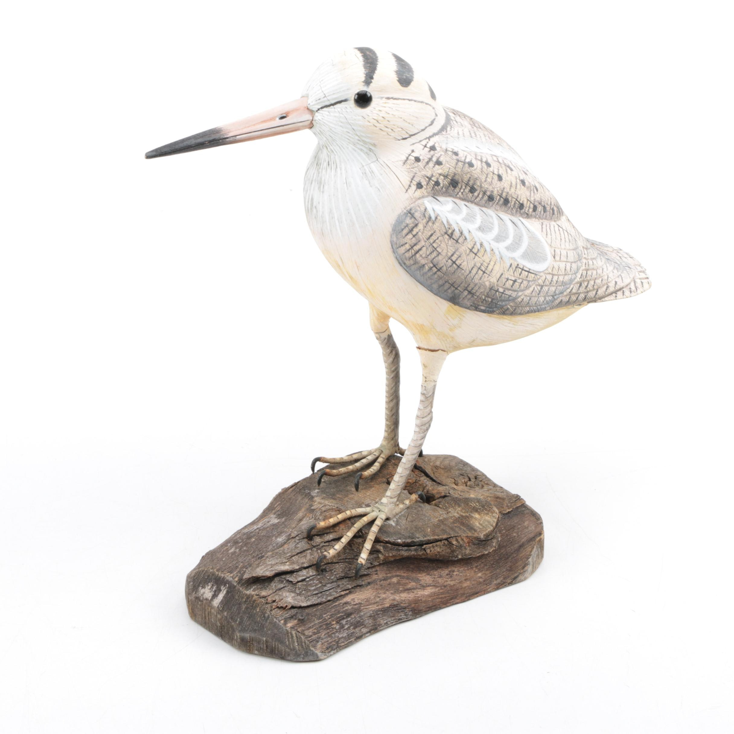 Carved Wooden American Woodcock Figurine