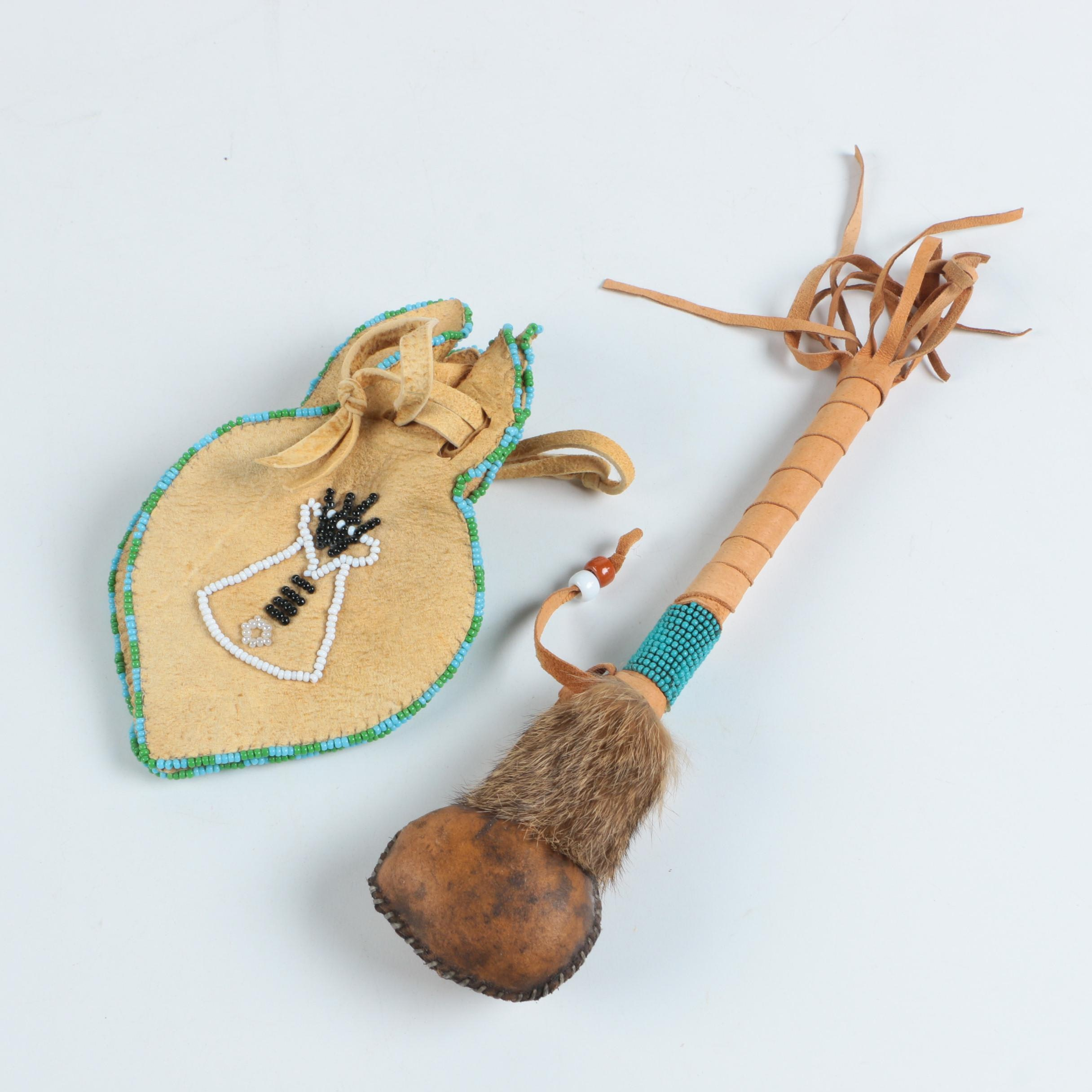 Lakota Dance Rattle with Beaded Drawstring Leather Pouch