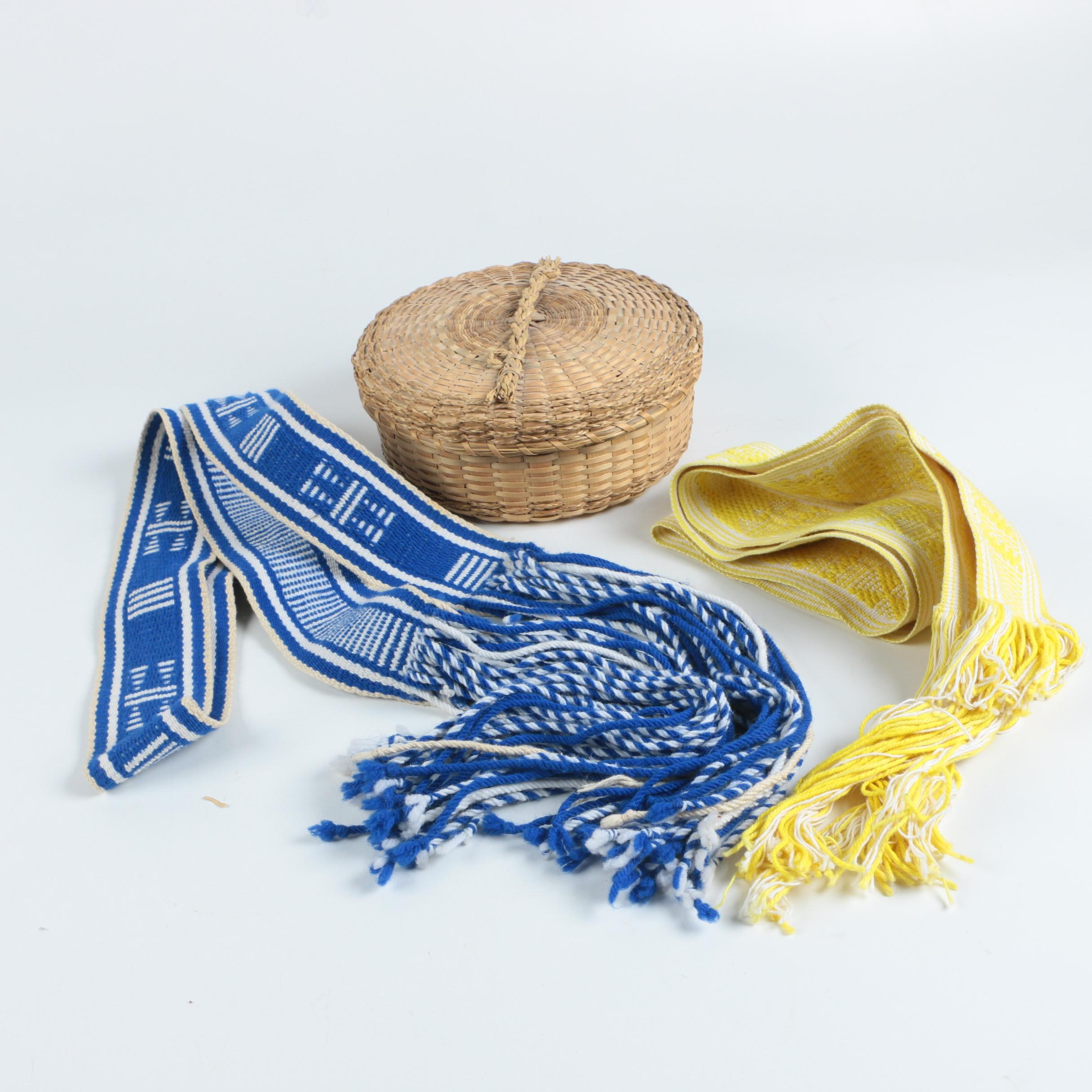 Native American Regalia Sashes and Woven Lidded Basket