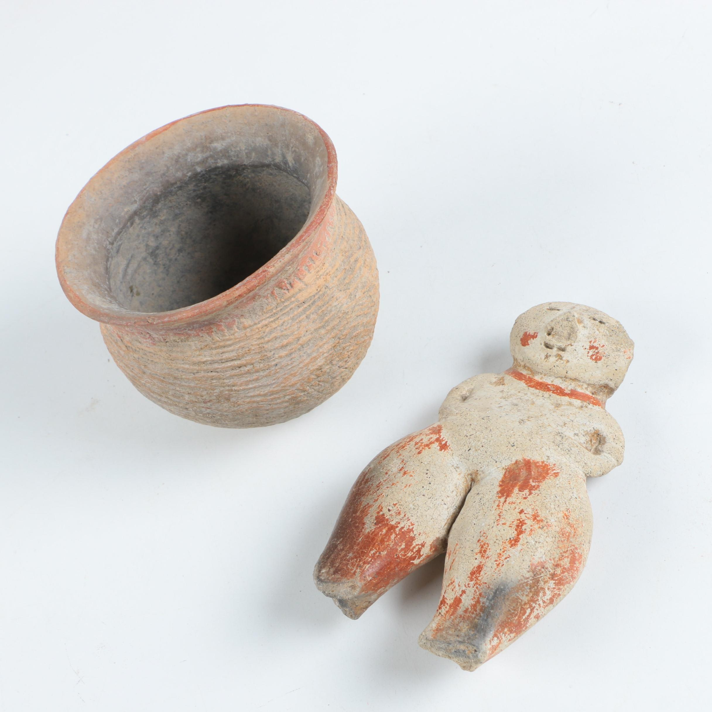 Antique Chinese Clay Pot and Figurine