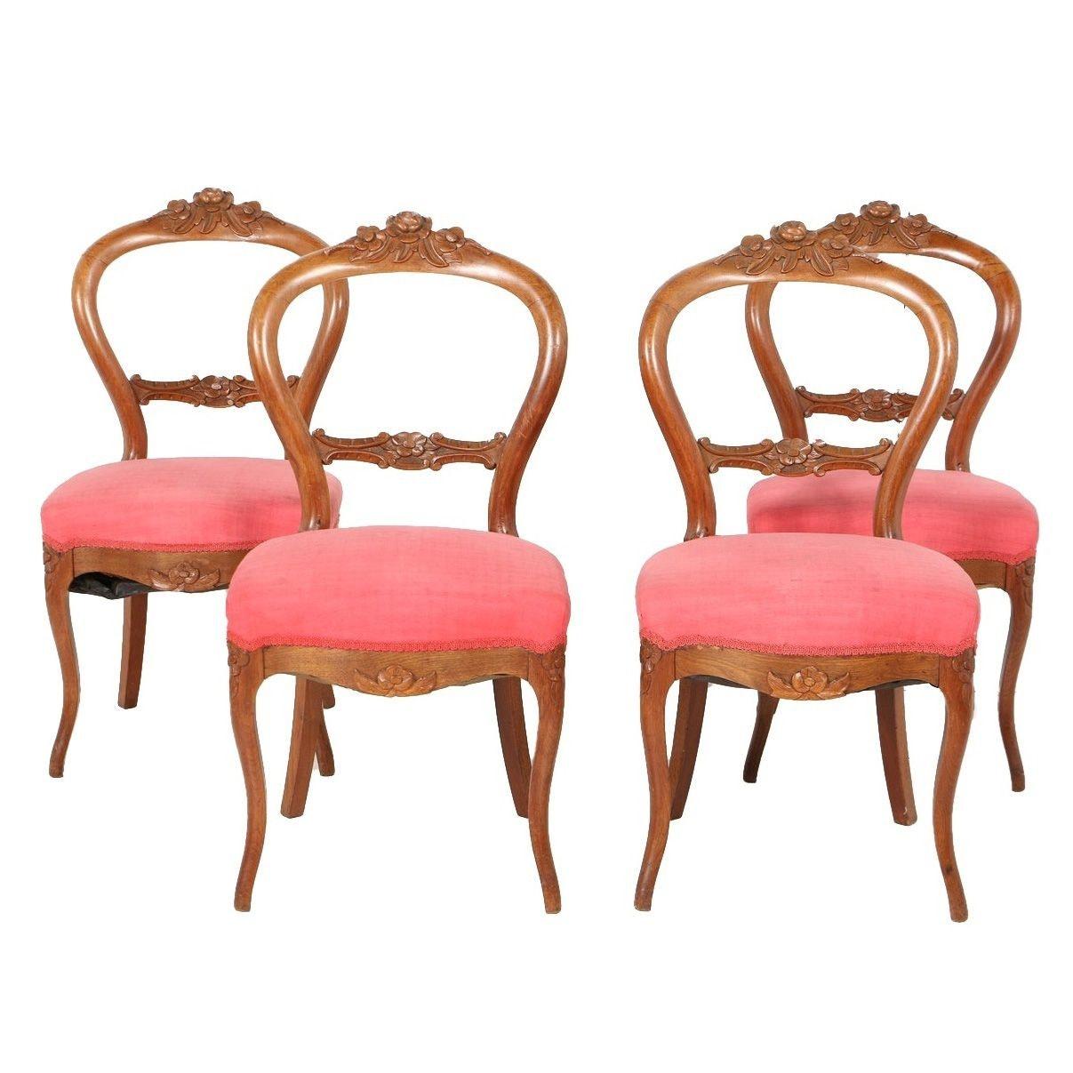 Antique Victorian Rococo Revival Walnut Side Chairs, Circa 1850-1875