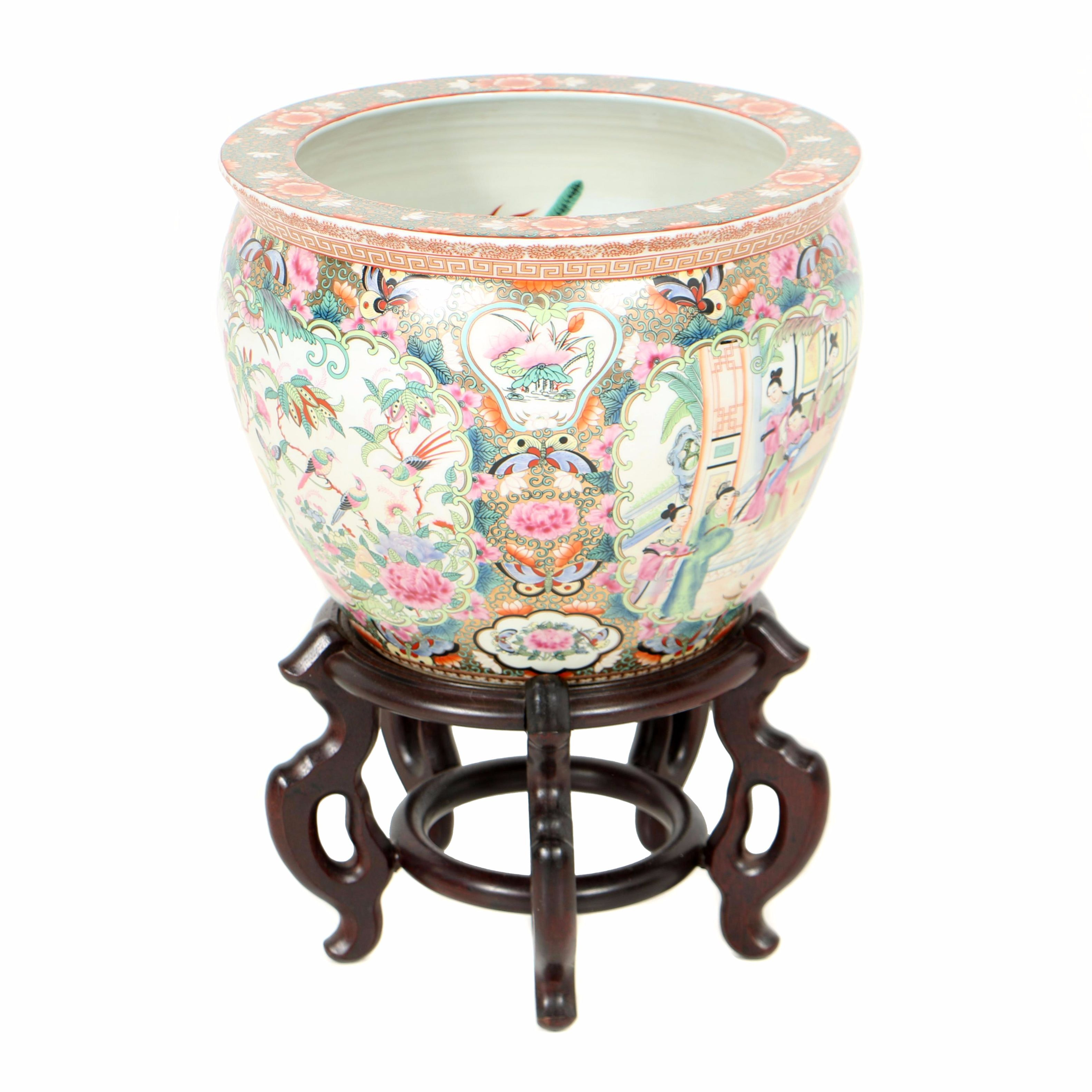 Chinese Rose Medallion Porcelain Jardiniere with Carved Hardwood Stand