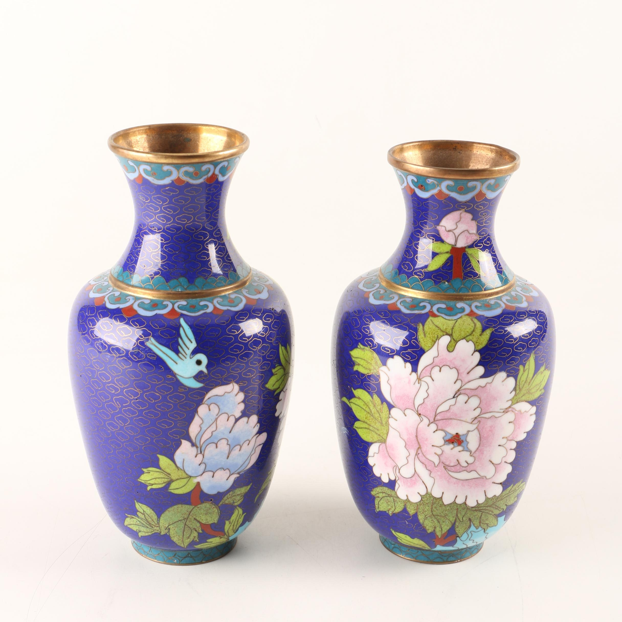 Asian-Inspired Pair of Blue Cloisonne Vases
