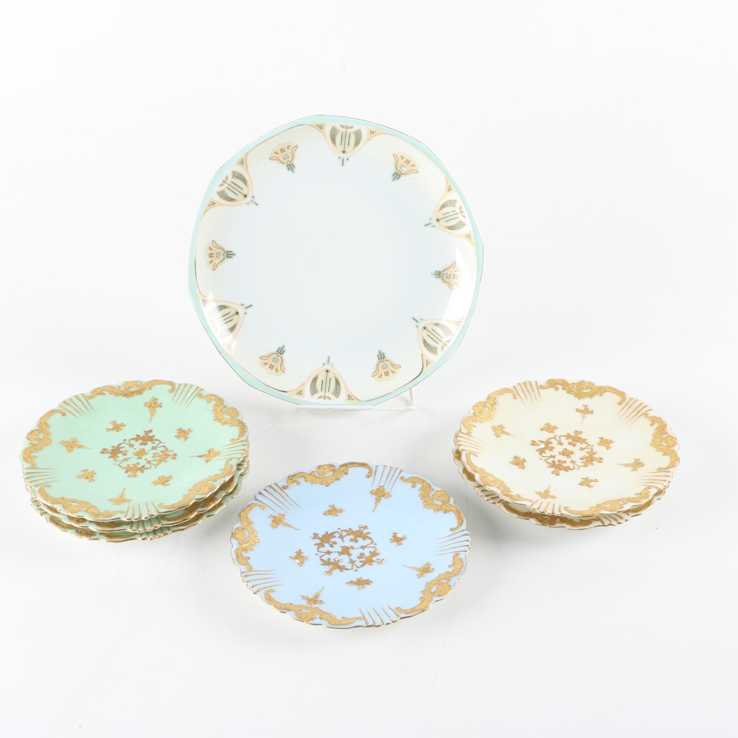 Vintage Porcelain Plates Featuring Klingenberg and Dwenger Limoges