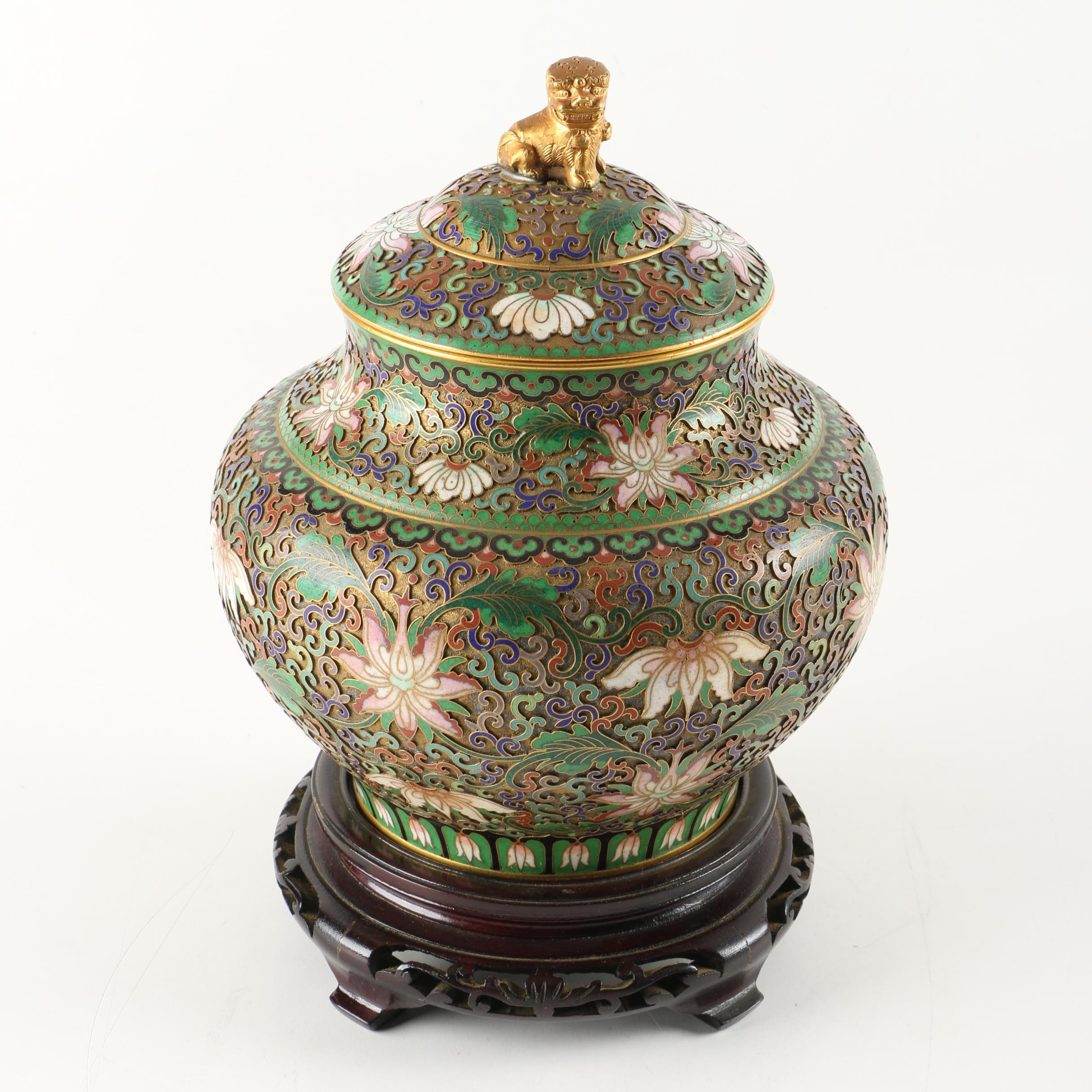 Chinese Cloisonné Jar with Stand