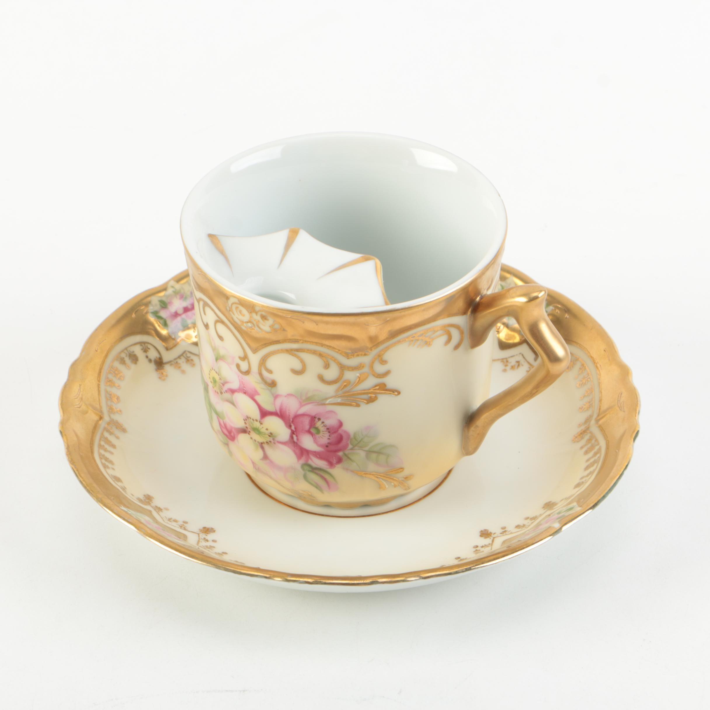 Vintage Arnart Porcelain Mustache Teacup and Saucer