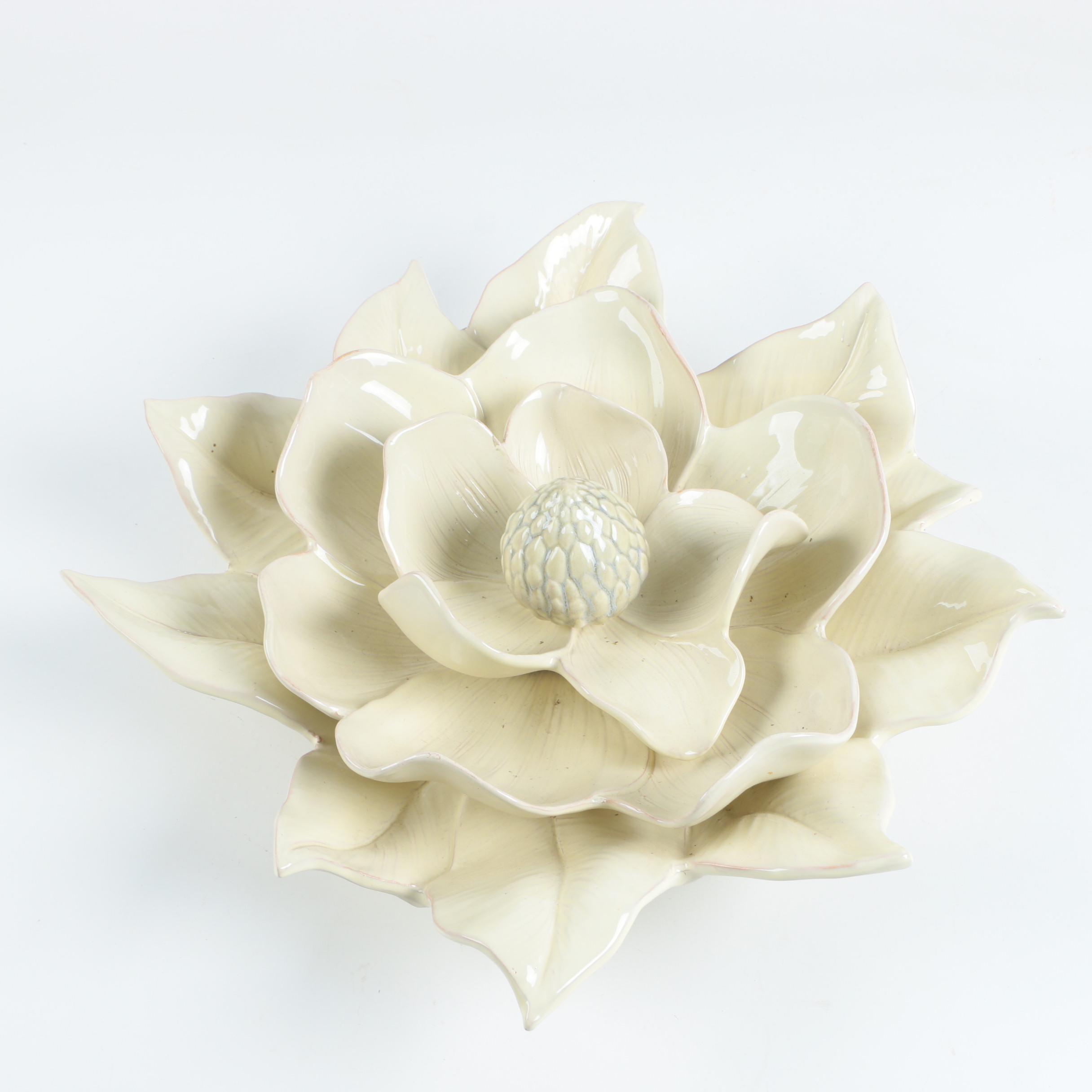 Italian Ceramic Magnolia Flower Wall Sculpture