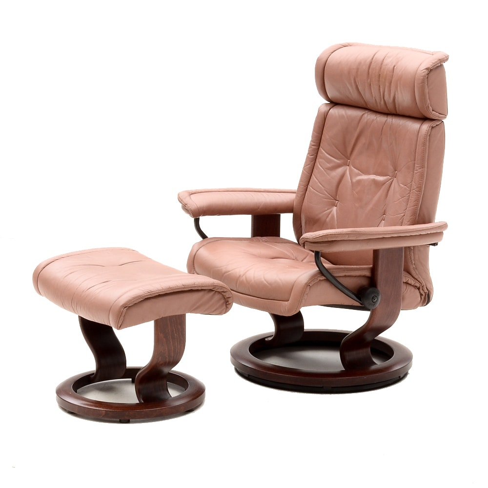 "Ekornes ""Stressless"" Leather Chair and Ottoman"