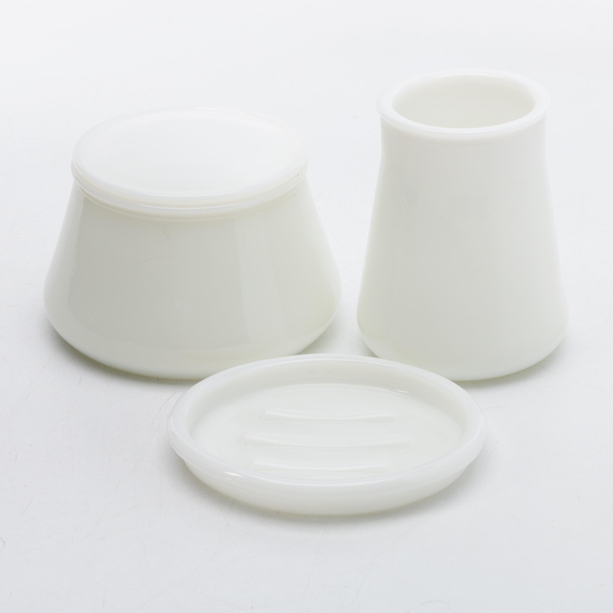 Delightful Milk Glass Bathroom Accessories ...