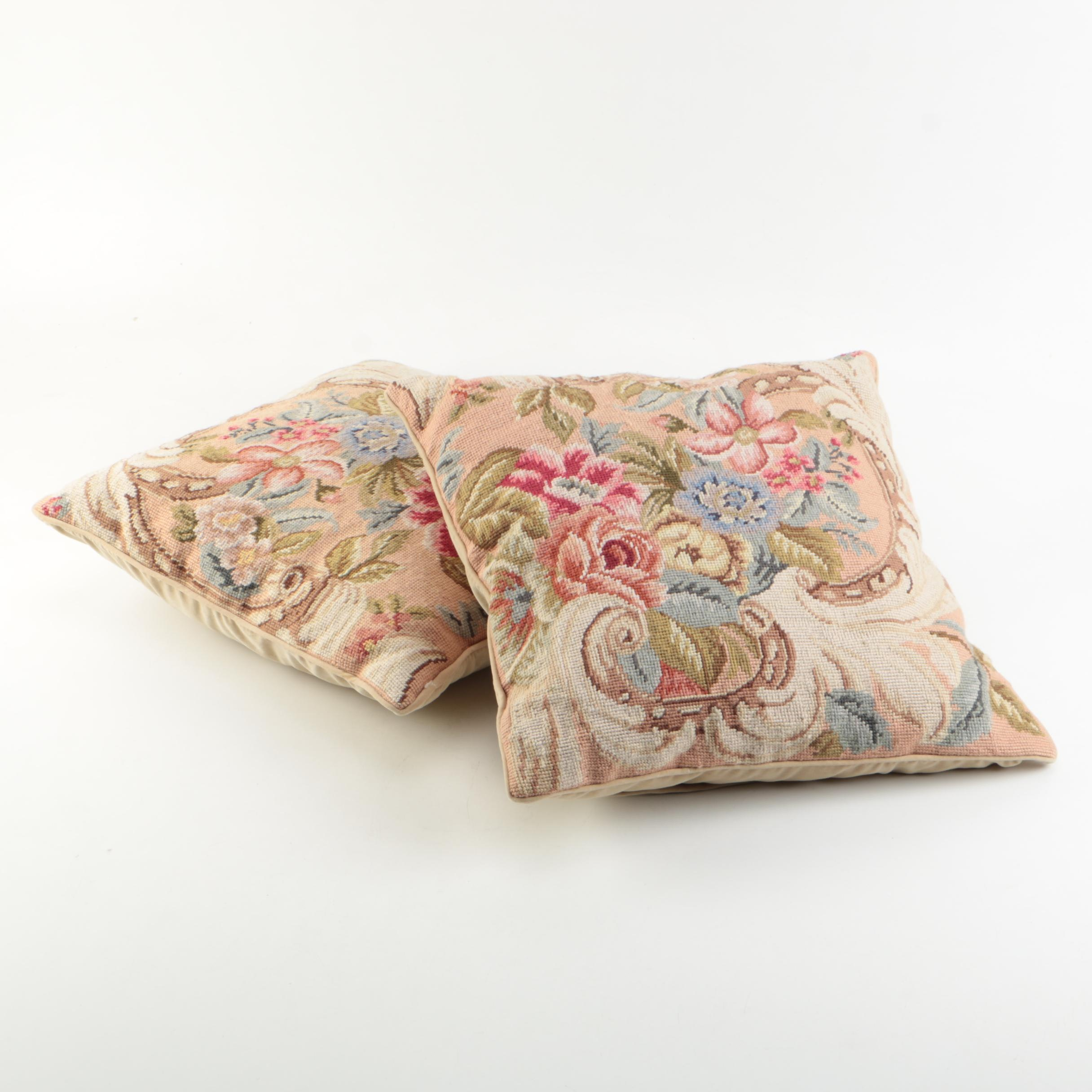 Floral Embroidered Throw Pillows