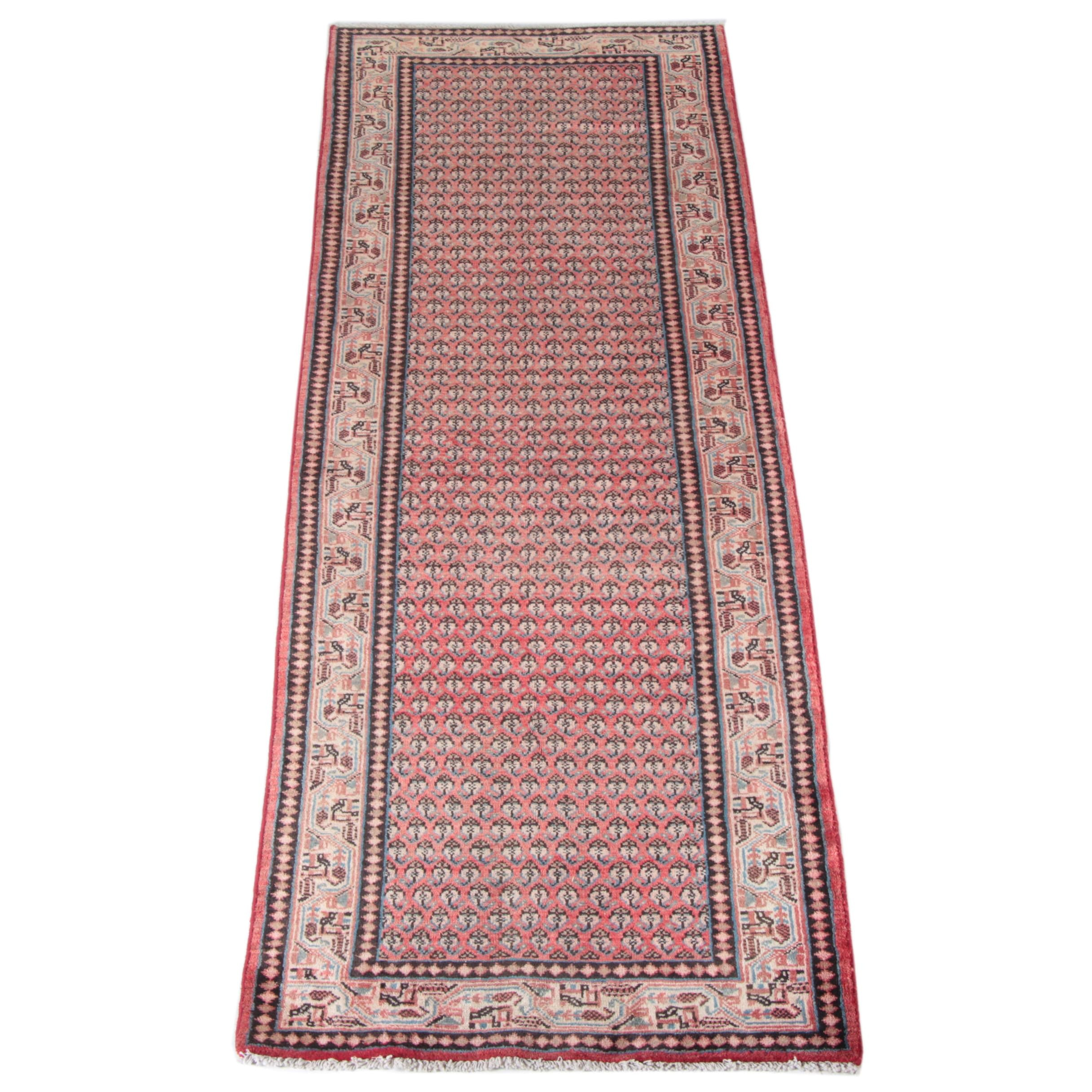 Hand-Knotted Mir-A-Boteh Carpet Runner