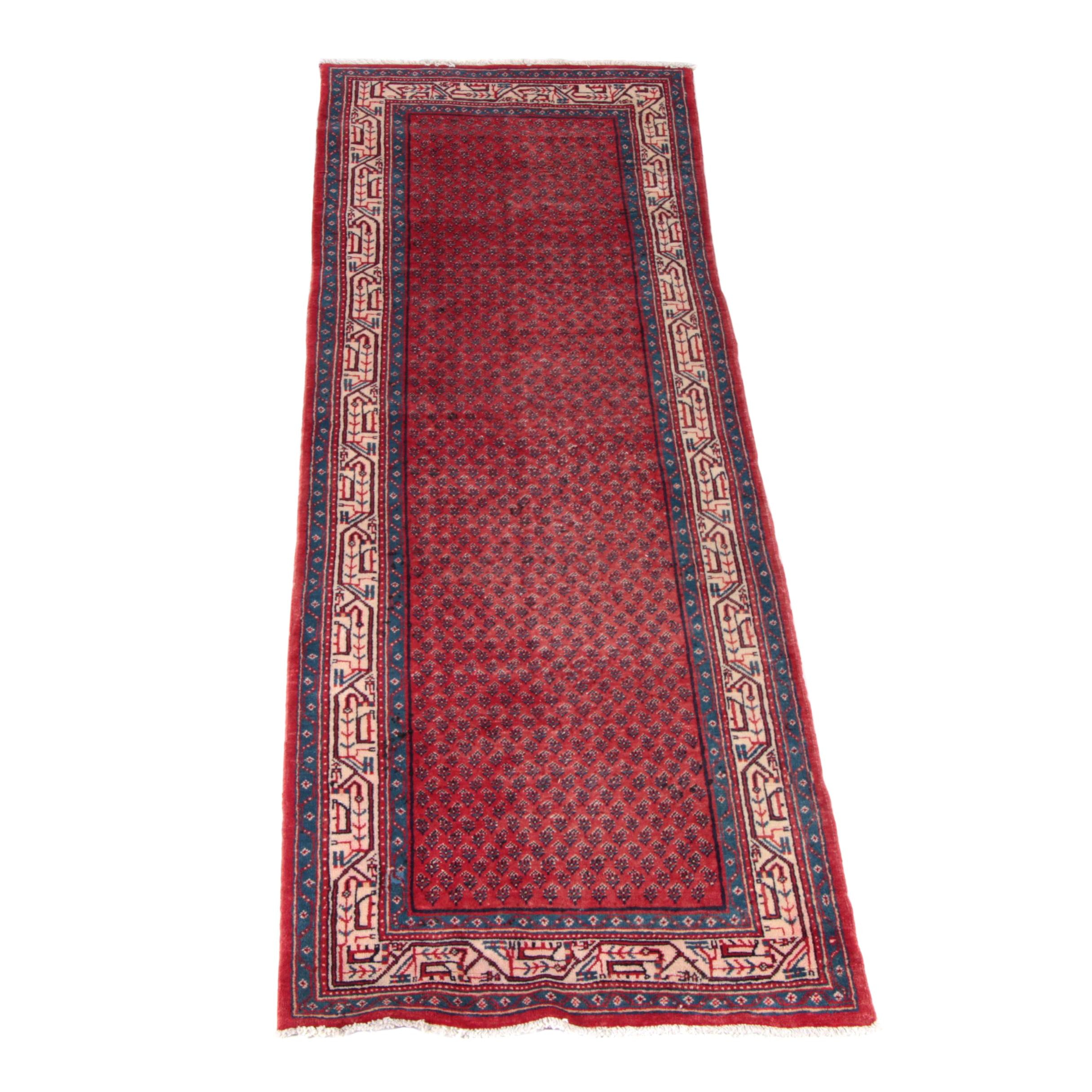 Hand-Knotted Persian Mir-a-Boteh Wool Carpet Runner
