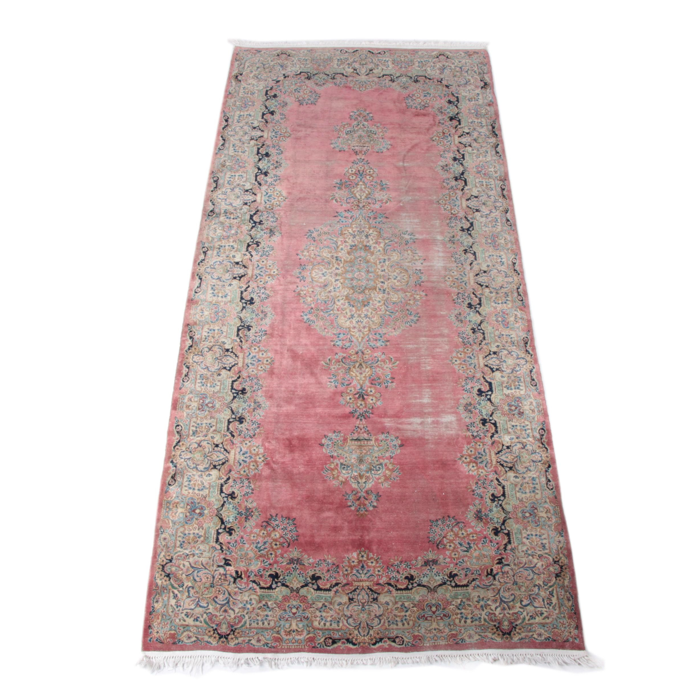 Semi-Antique Hand-Knotted Persian Kerman Long Rug