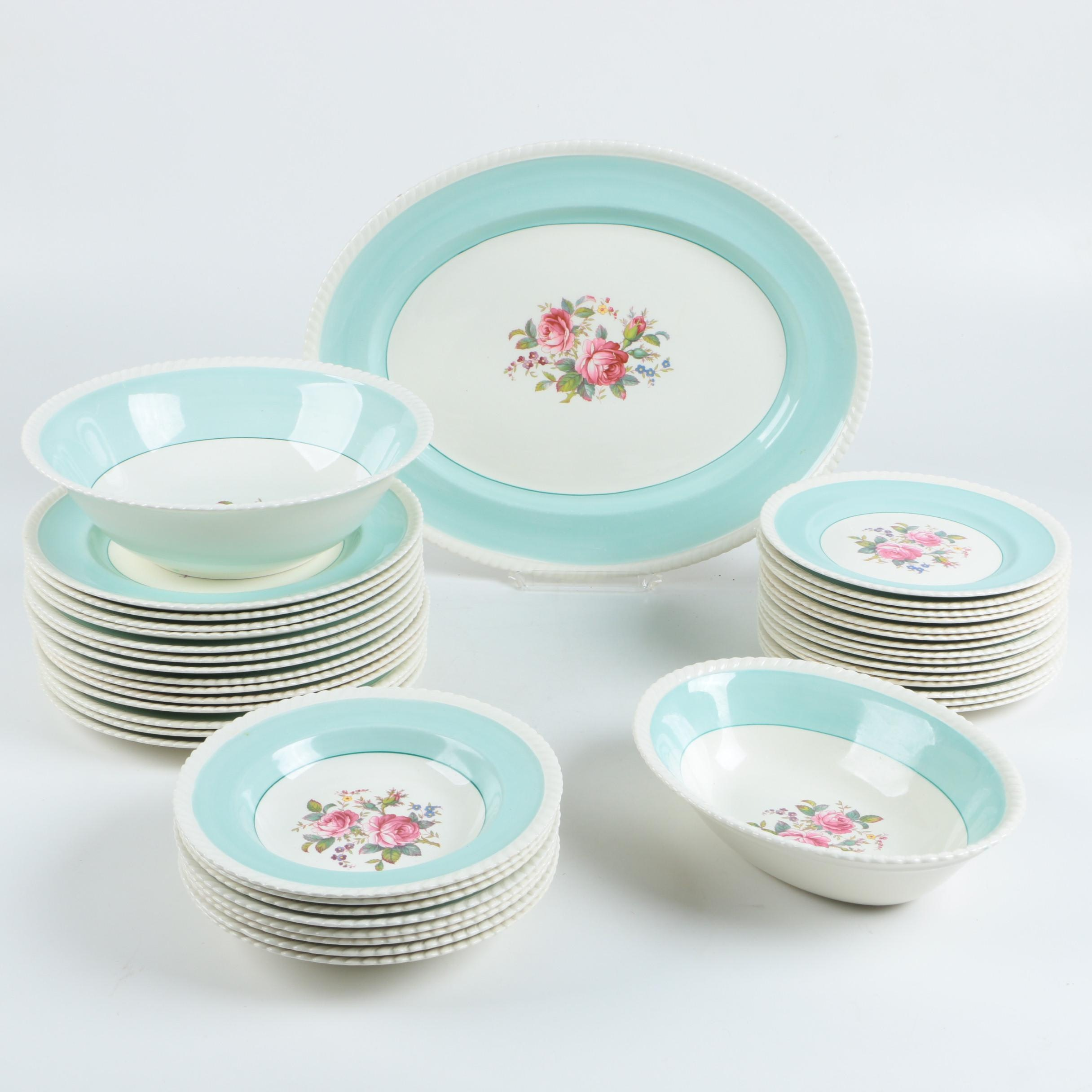 Brothers Auto Sales >> Vintage Johnson Brothers Windsor Ware Aqua and Floral Dinnerware : EBTH