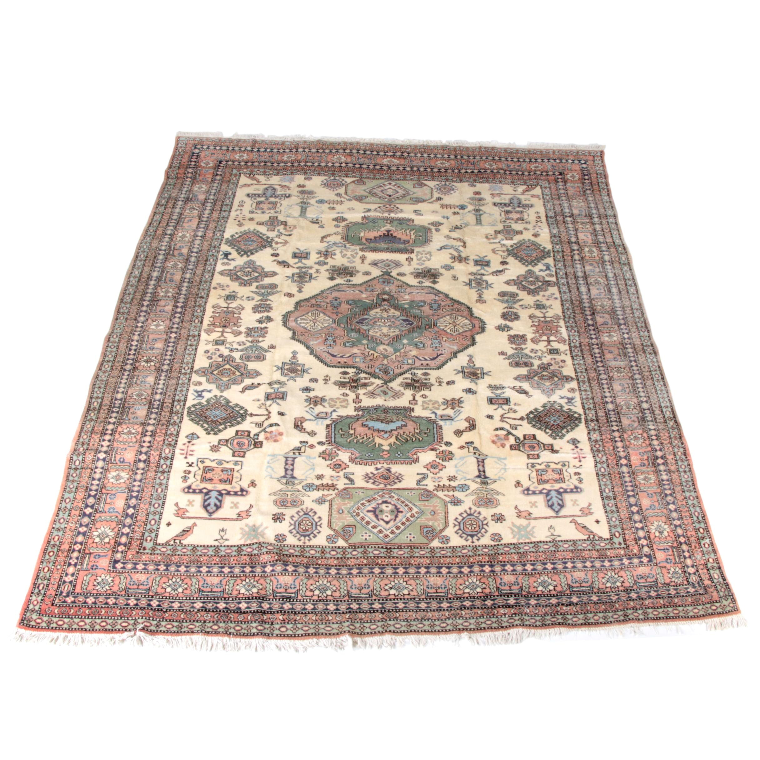 Large Hand-Knotted Central Asian Area Rug
