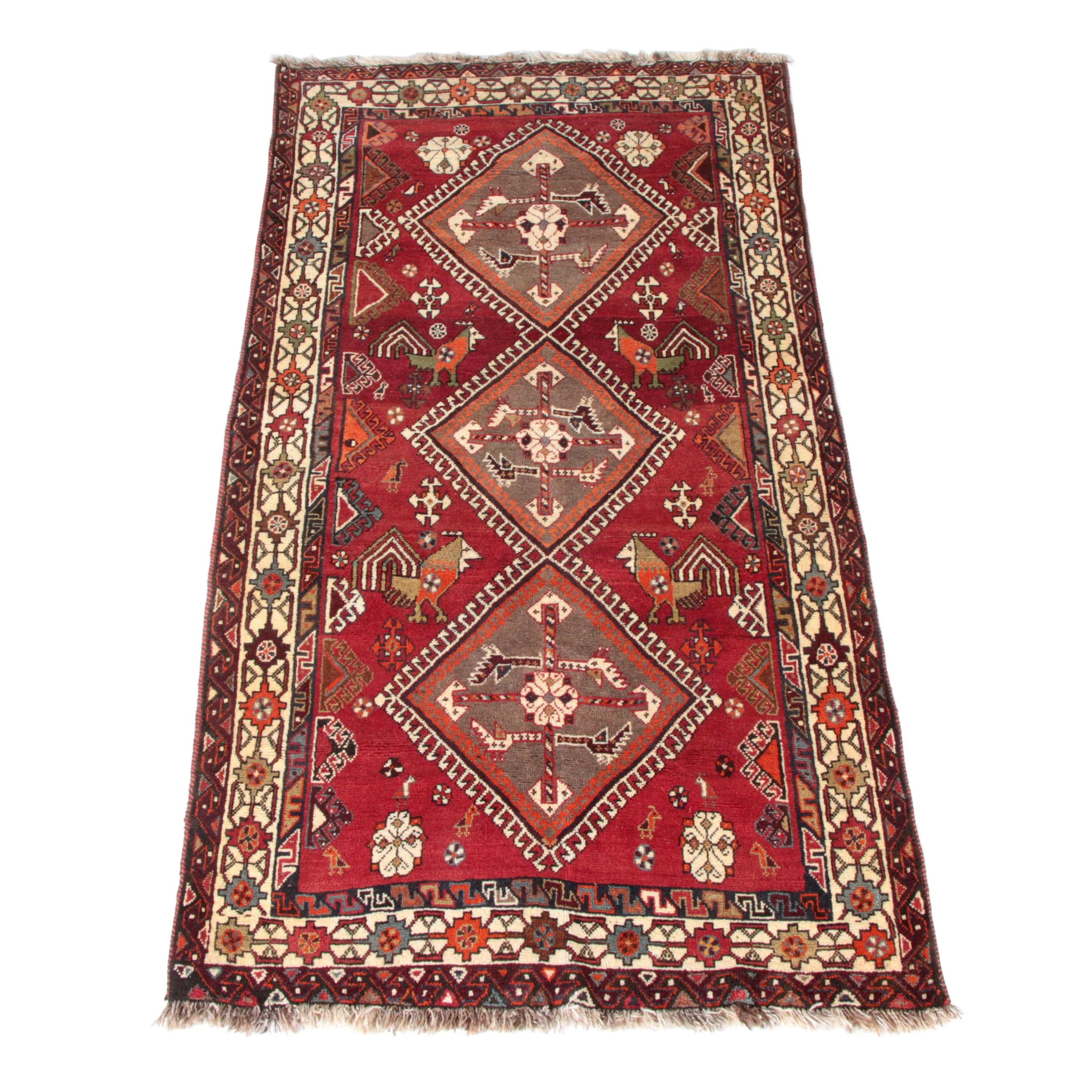 Hand-Knotted Qashqai Tribal Wool Area Rug
