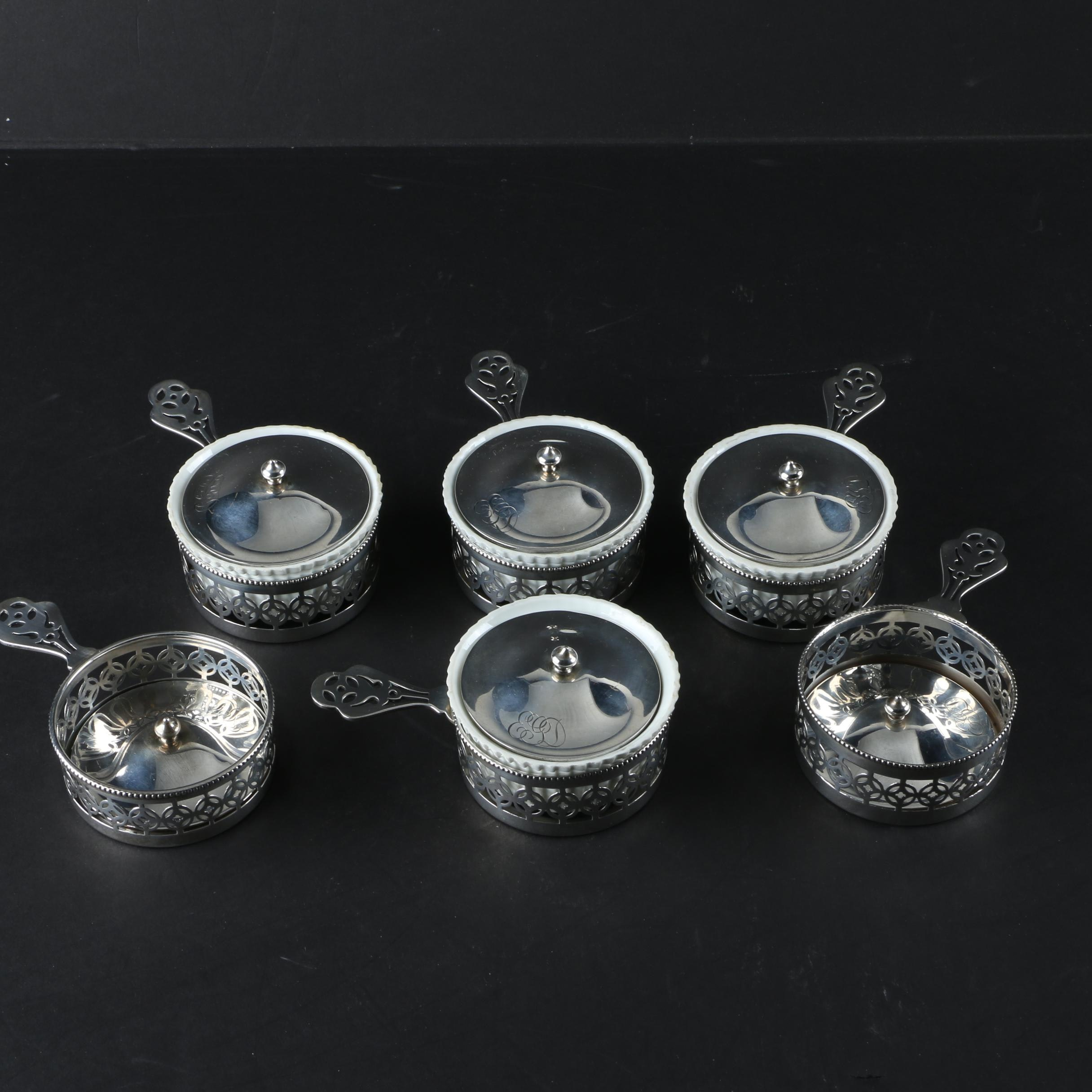 Gorham Mfg. Co. Sterling Silver Ramekin Holders with Ribbed Porcelain Liners