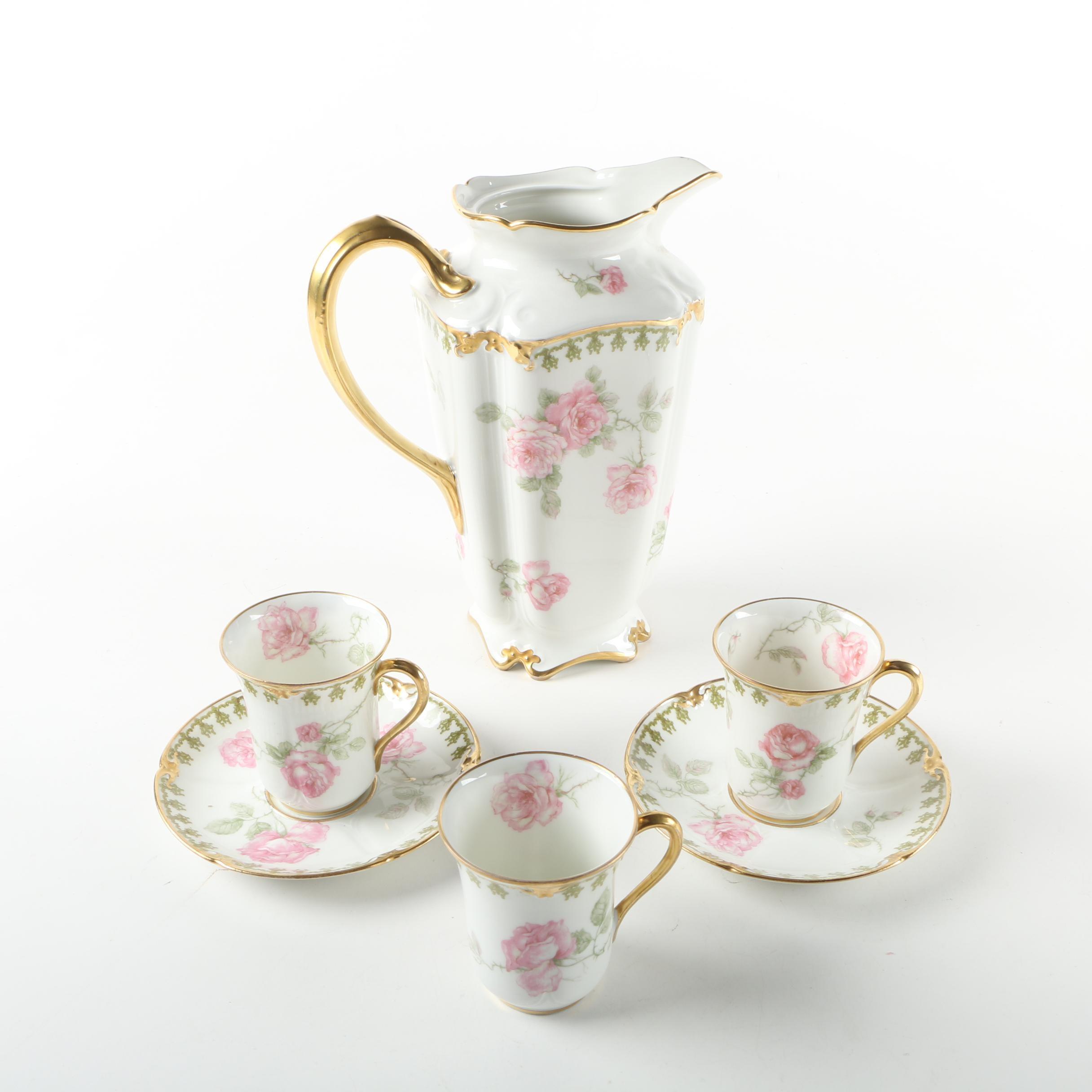 Antique GDA Limoges Porcelain Teacups and Pitcher