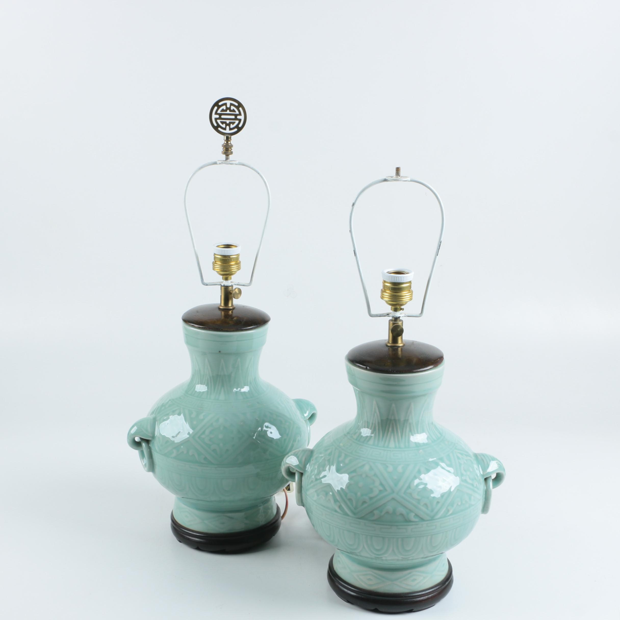 Celadon Glazed Ceramic Urn Style Table Lamps