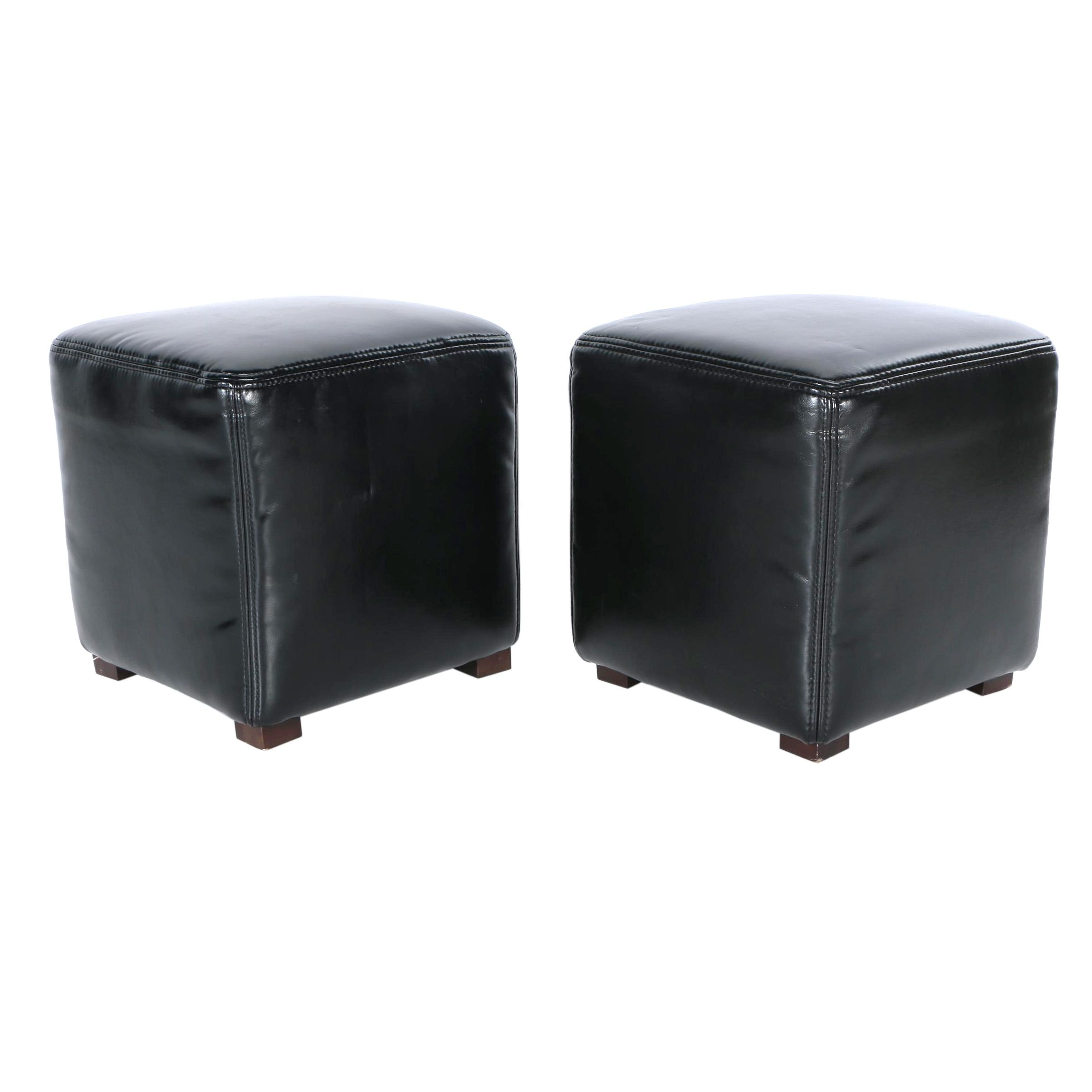 Contemporary Black Leatherette Footstools
