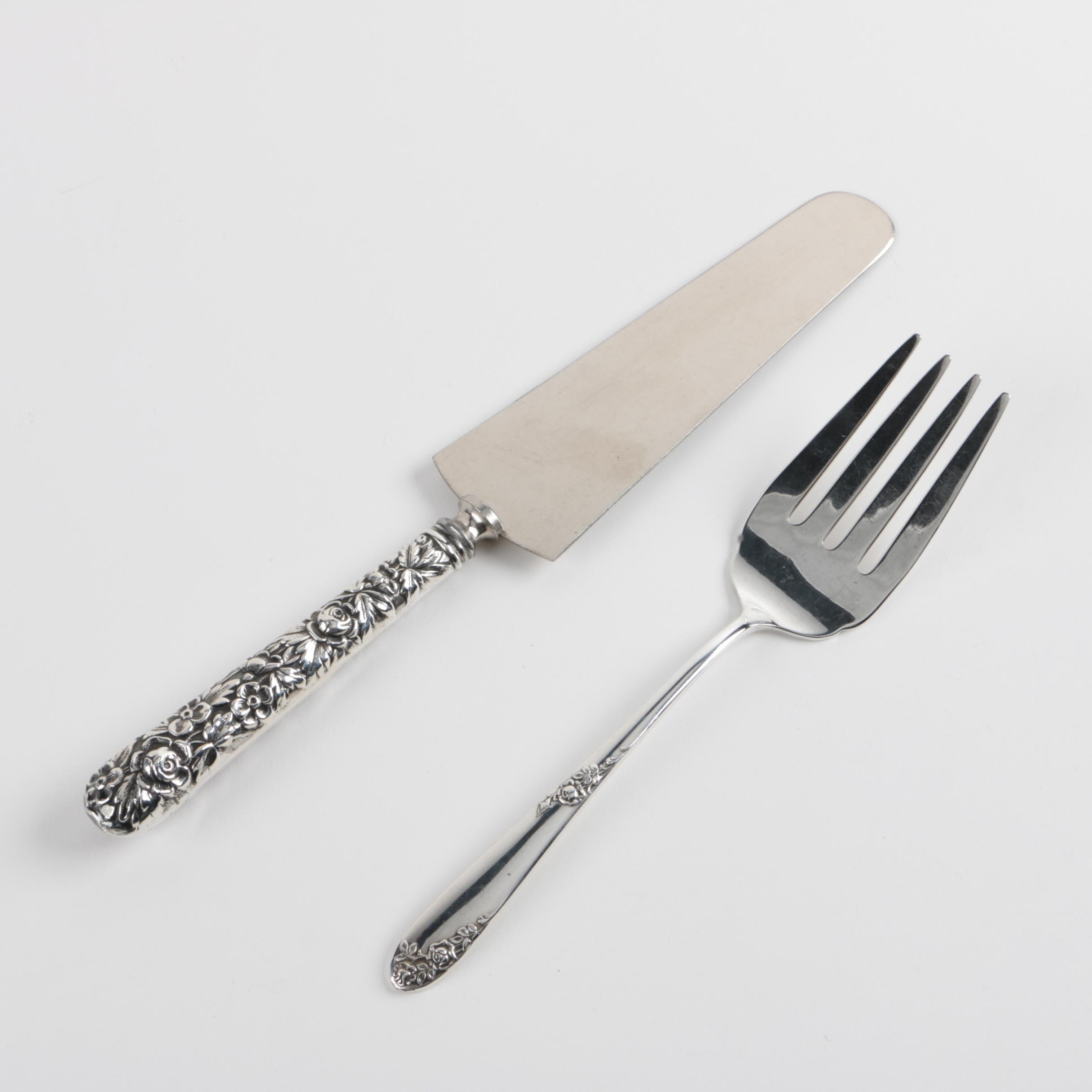 """Lunt """"Sweetheart Rose"""" Sterling Meat Fork with G.H. French & Co. Cake Knife"""
