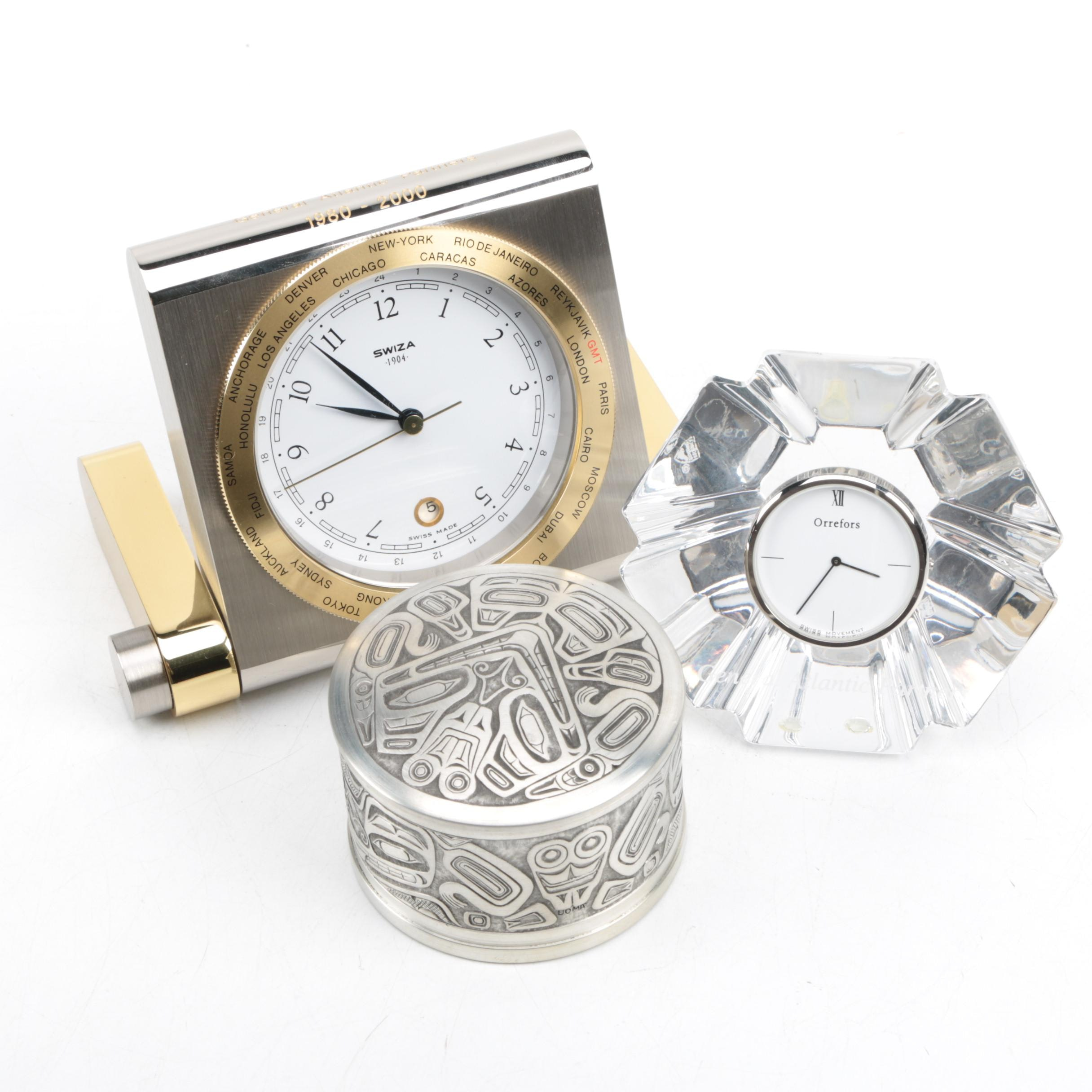 Orrefors Crystal Clock, Trinket Box, and World Clock