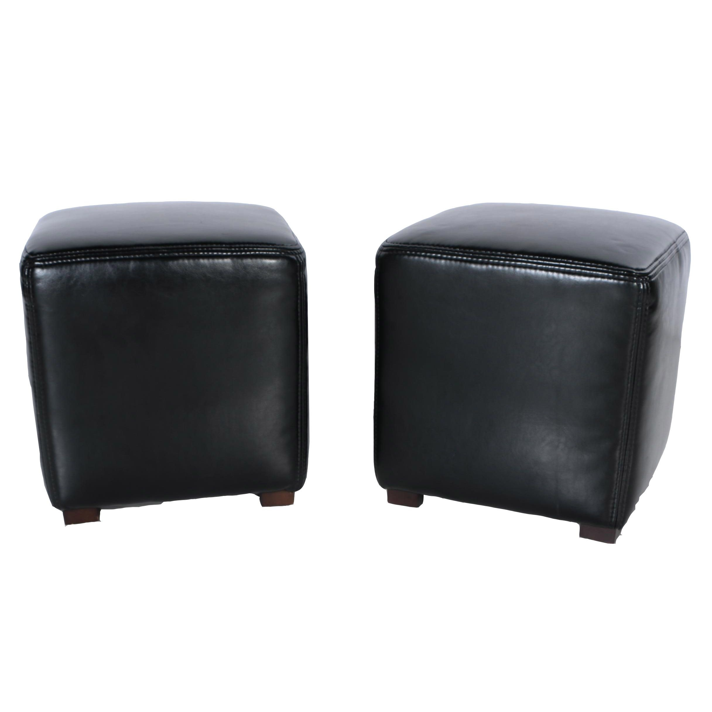 Black Leather Ottomans by Zhe Jiang Furniture