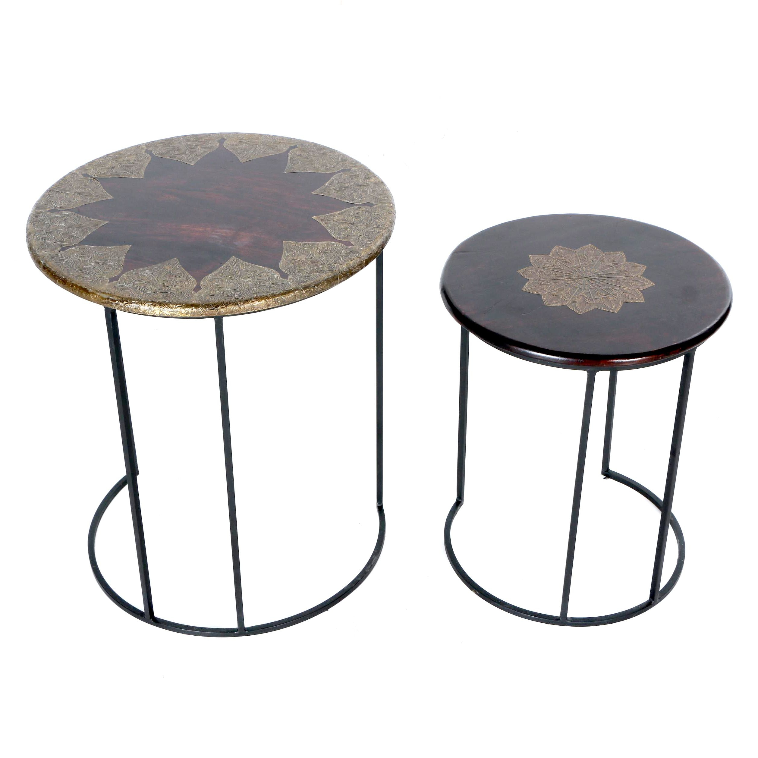 Round Nested Tables With Embossed Metal