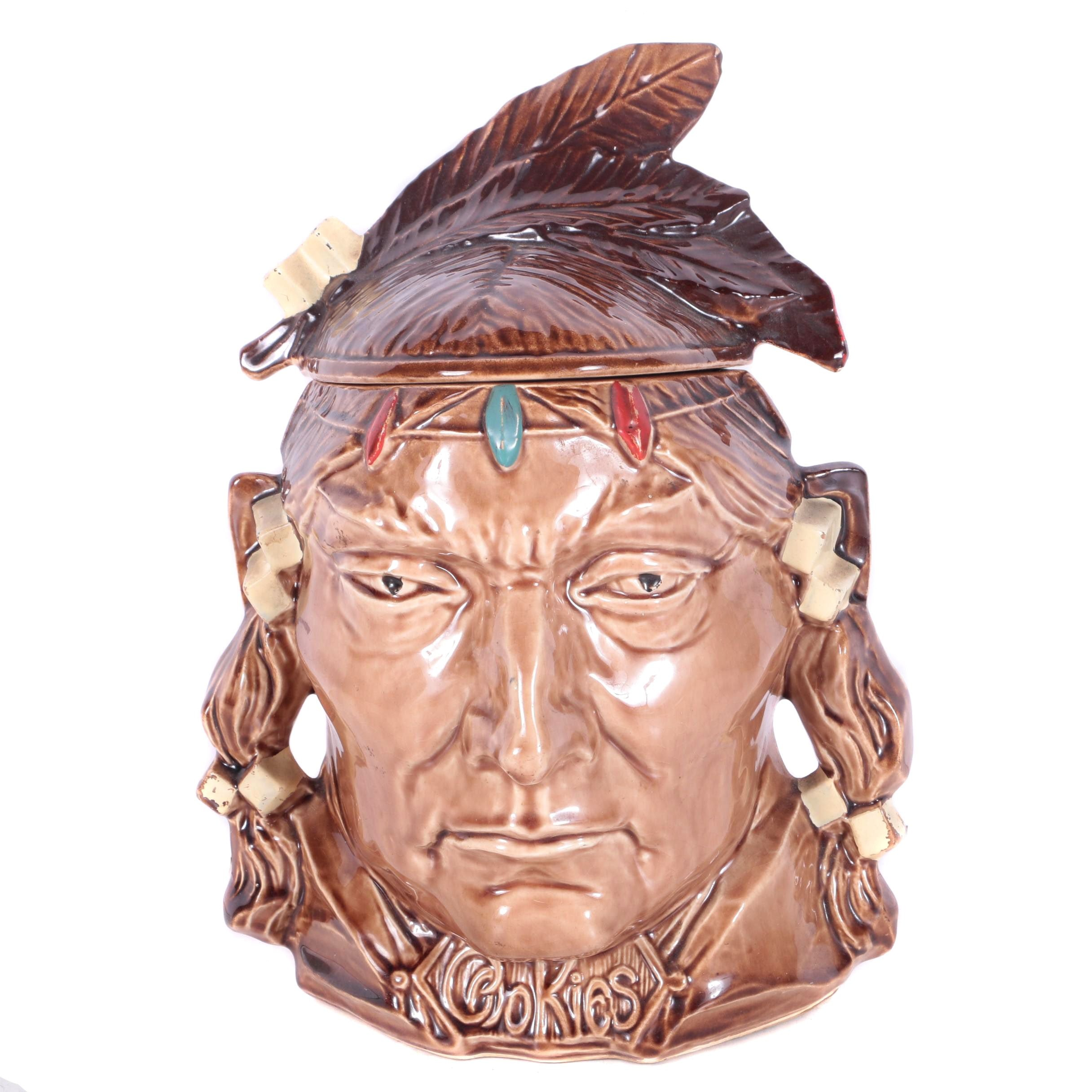 Native American Head Pottery Cookie Jar by McCoy
