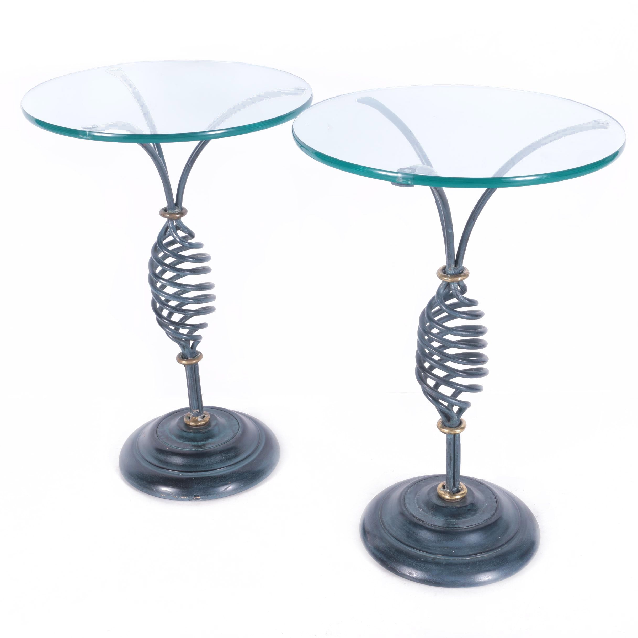 Contemporary Glass and Metal Side Tables