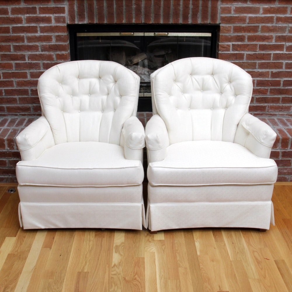 White Upholstered Armchairs by Madden