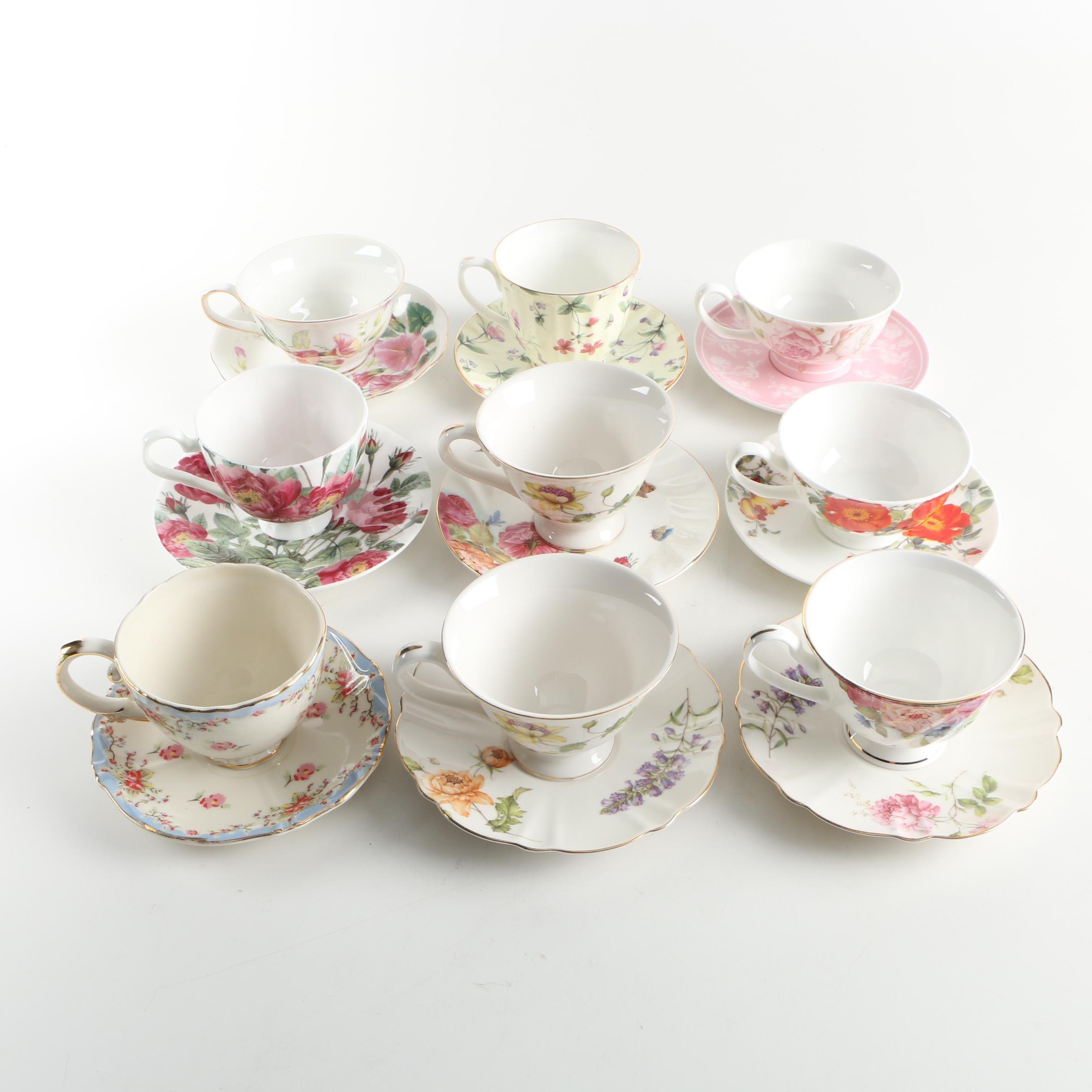 China Floral Teacups and Saucers including Grace Tea Ware