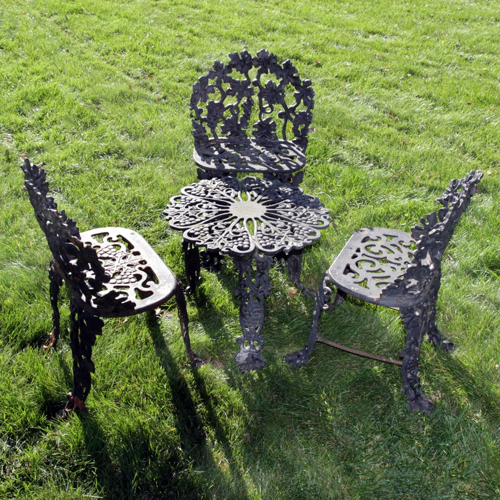 Vintage Four Piece Wrought Iron Garden Set