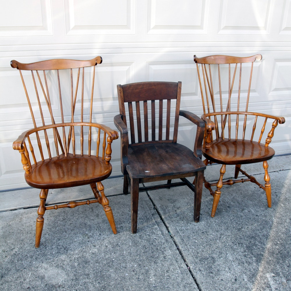 Pair Of Bracket Back Windsor Style Armchairs And Vintage Armchair ...