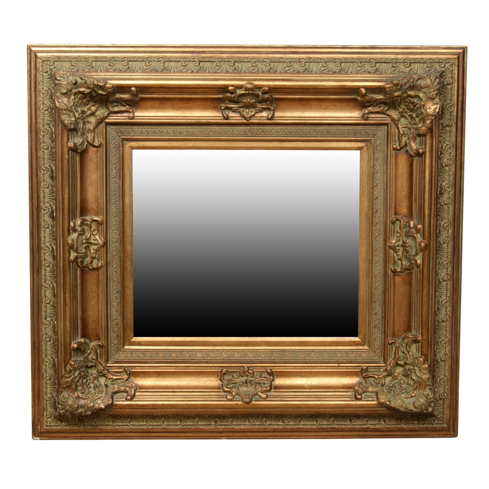 Mirror with a Baroque Antique-Gold Tone Frame
