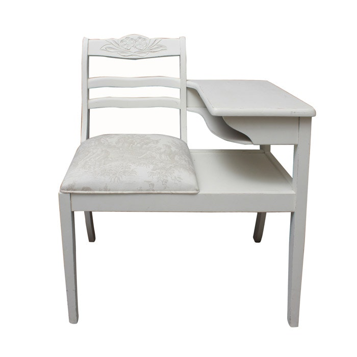 Vintage White Painted Gossip's Bench