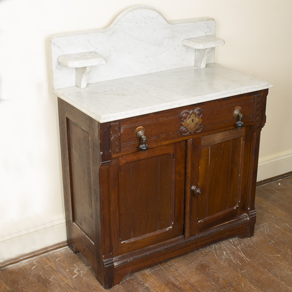 Antique Victorian Marble Topped Washstand