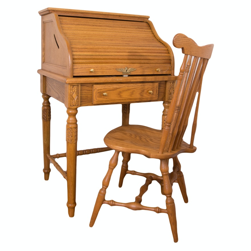 Eagle Craft Oak Roll Top Desk Ithink